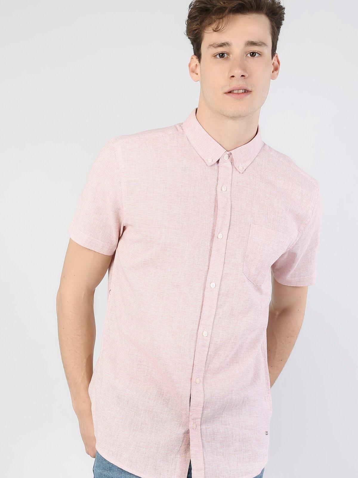Regular Fit Shirt Neck Erkek Somon Kısa Kol Gömlek