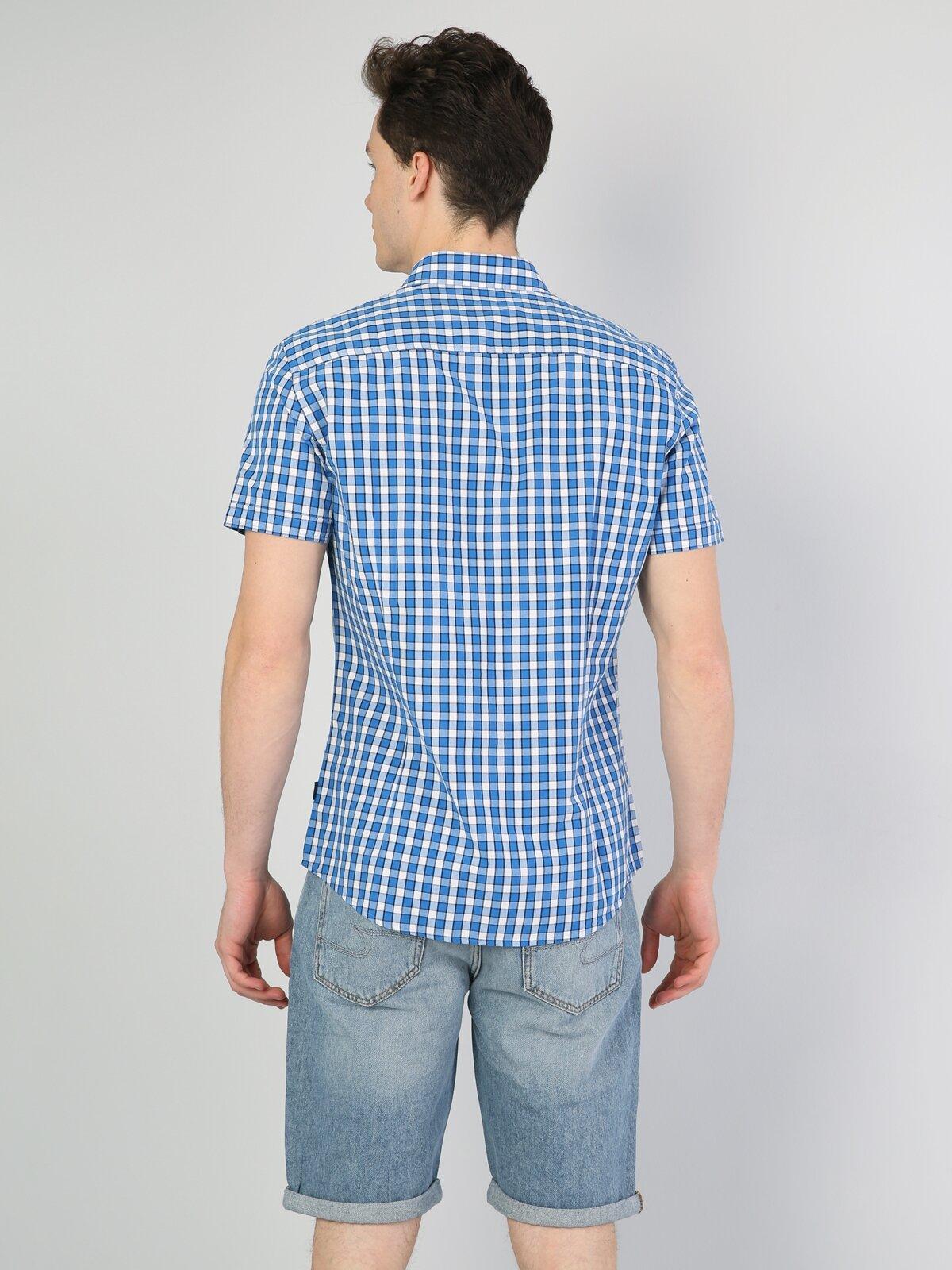 Slim Fit Shirt Neck Erkek Mavi Kısa Kol Gömlek