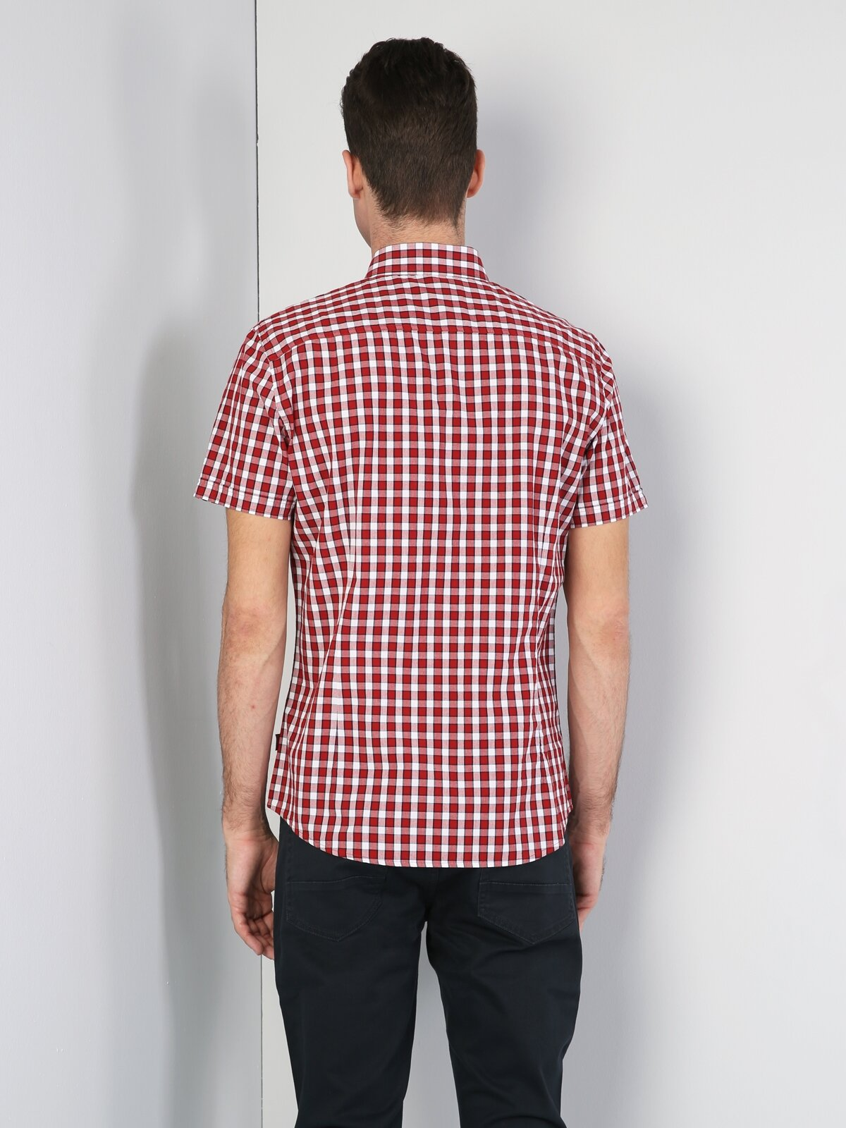 Slim Fit   Kırmızı Kısa Kol Gömlek