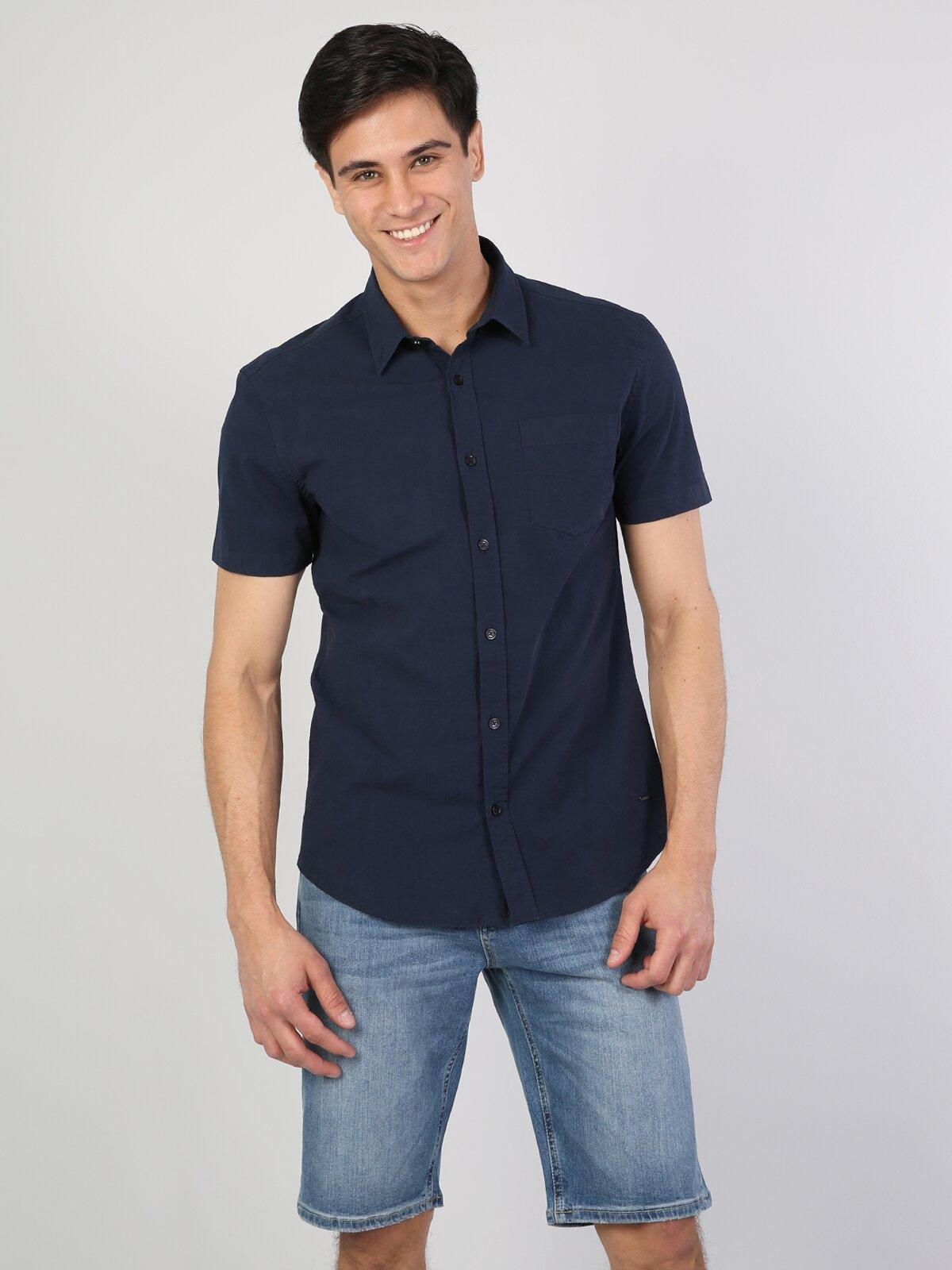 Slim Fit  Koyu Lacivert Kısa Kol Gömlek