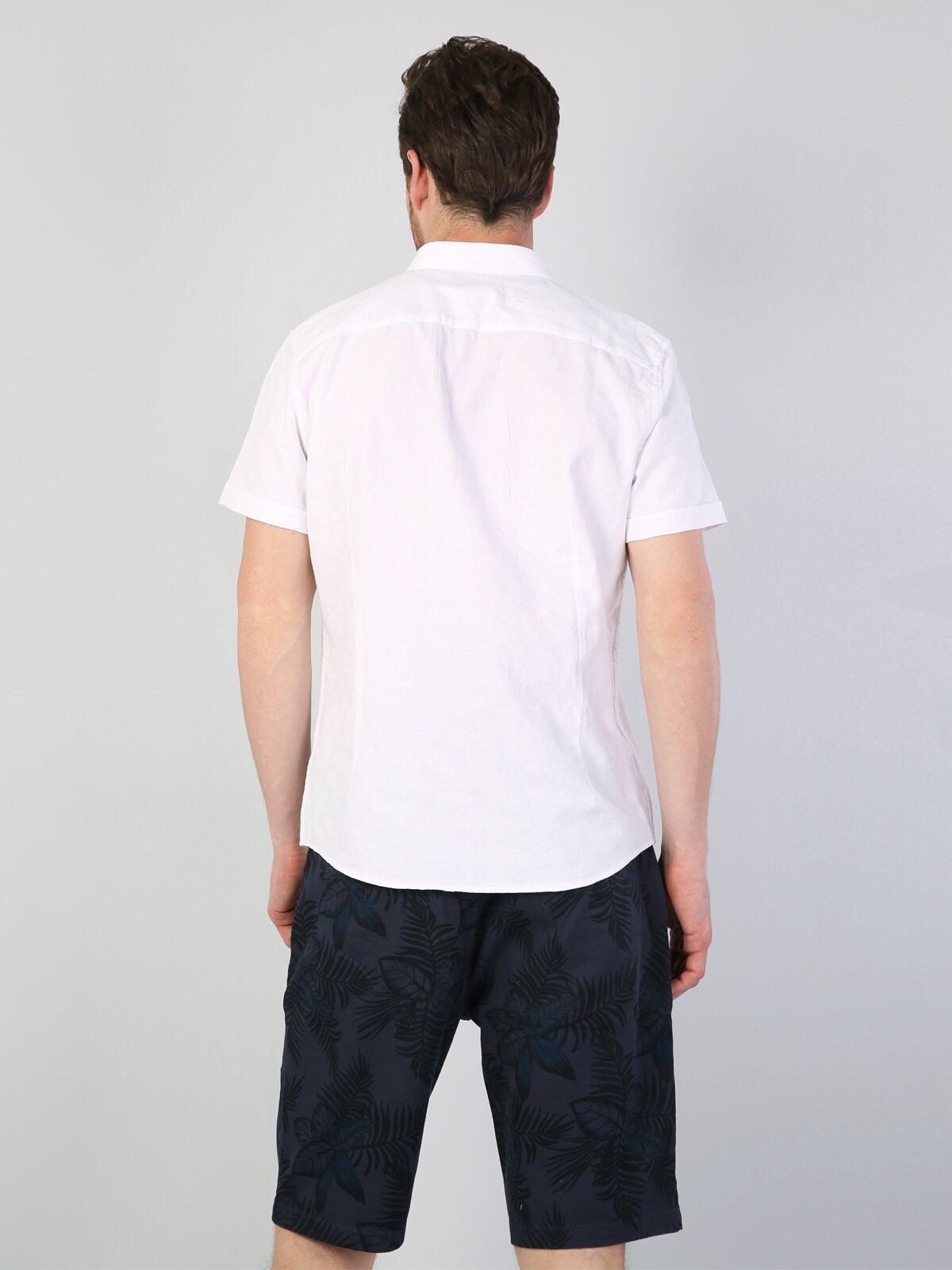 Slim Fit Beyaz Kısa Kol Gömlek