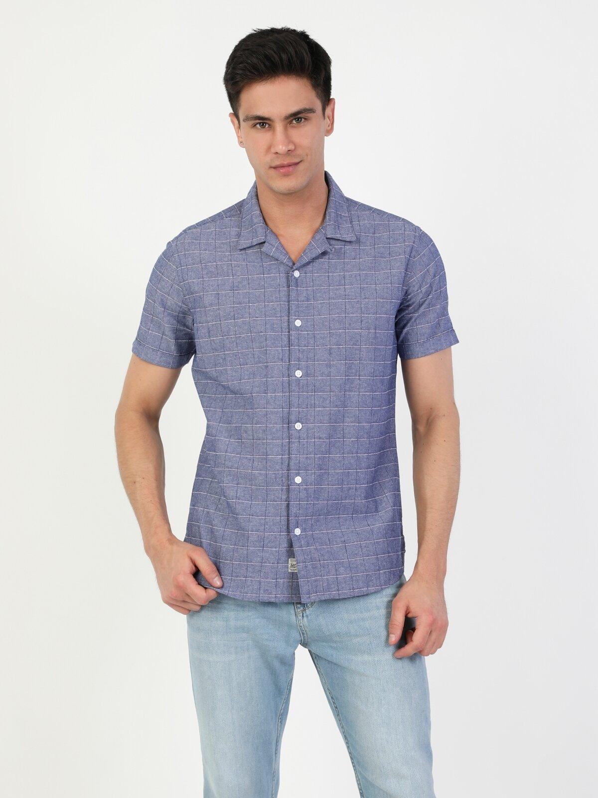 Slim Fit Shirt Neck Erkek Açık Mavi Kısa Kol Gömlek