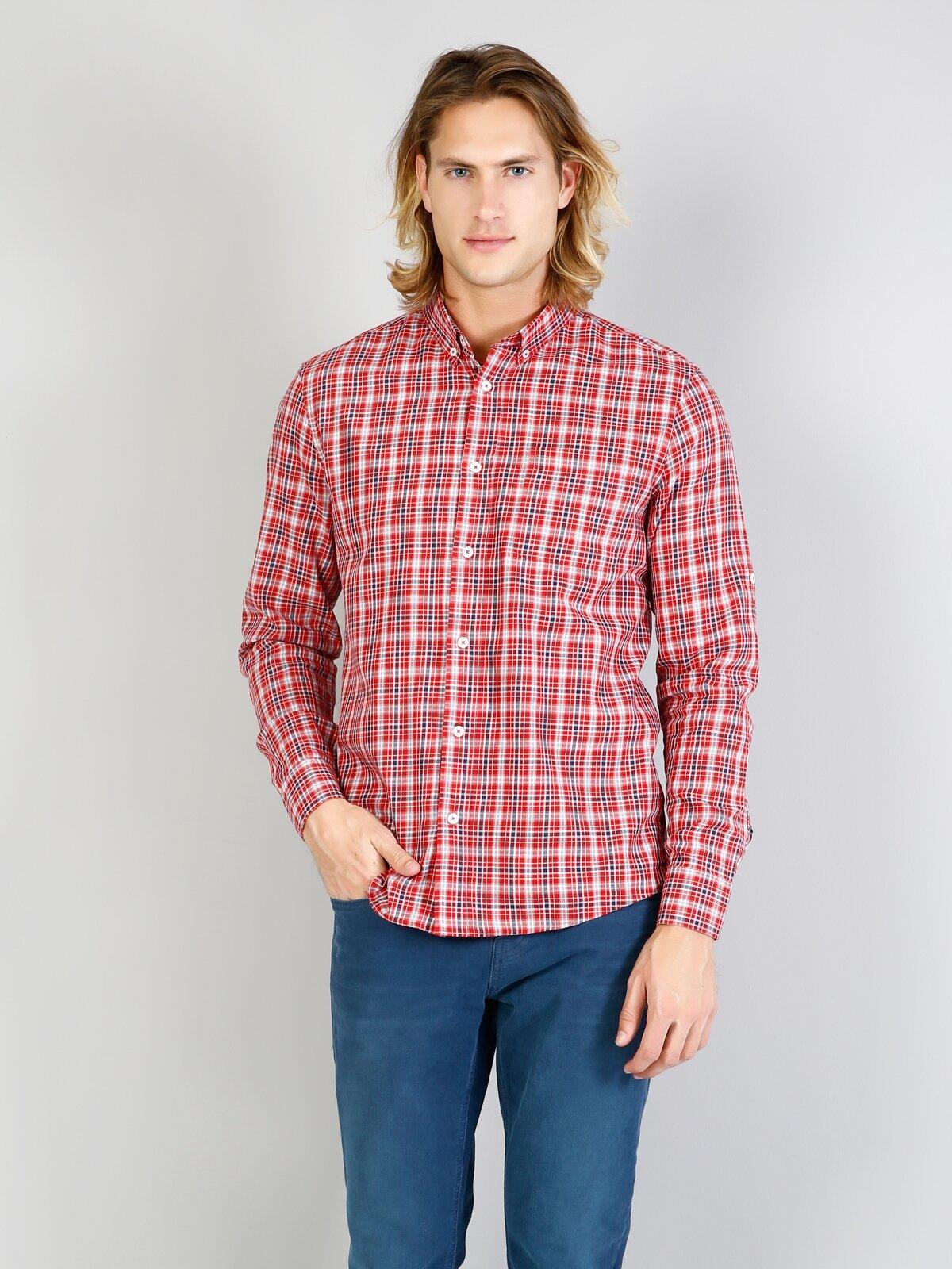 Kol Katlamalı Klasik Yaka Kırmızı Uzun Kol Gömlek