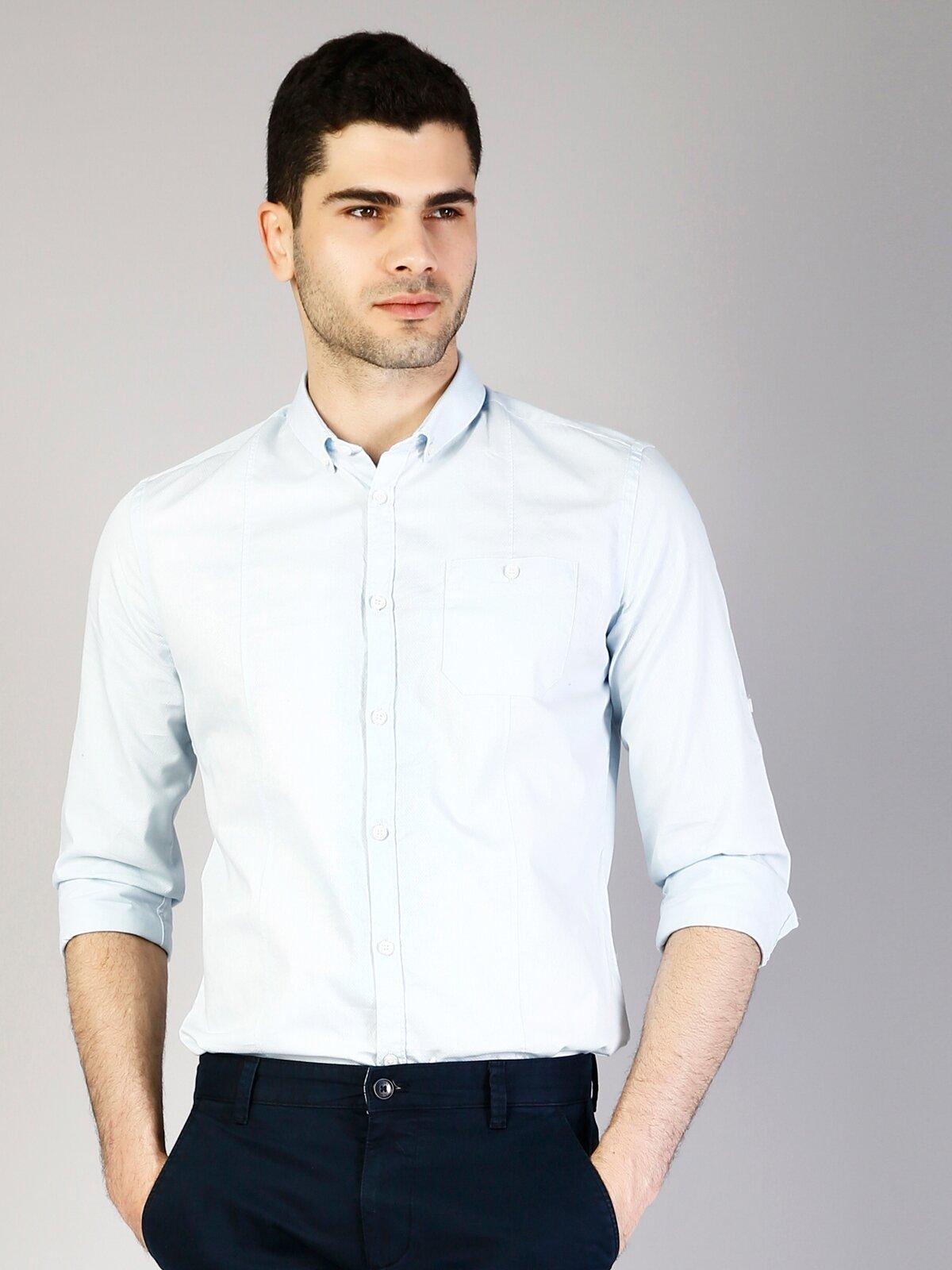 Kol Katlamalı Klasik Yaka Açık Mavi Uzun Kol Gömlek