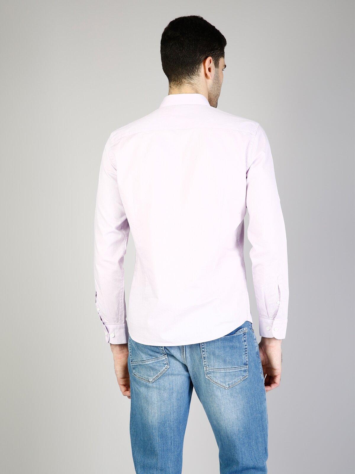 Kol Katlamalı Klasik Yaka Mor Uzun Kol Gömlek