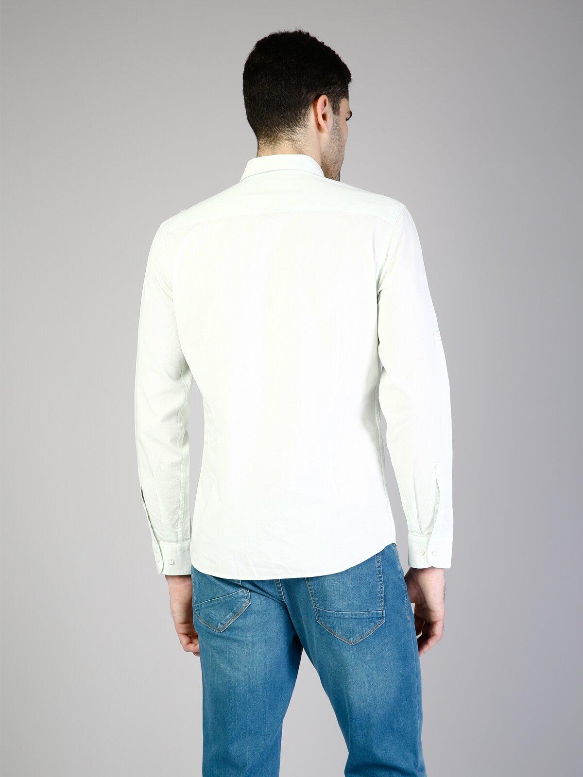 Modern Fit Shirt Neck Erkek Mint Yeşili Uzun Kol Gömlek