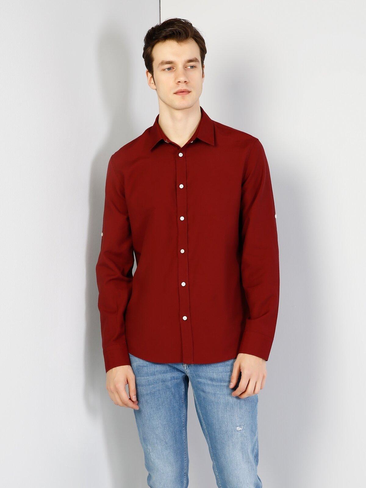 Regular Fit  Erkek Bordo Uzun Kol Gömlek