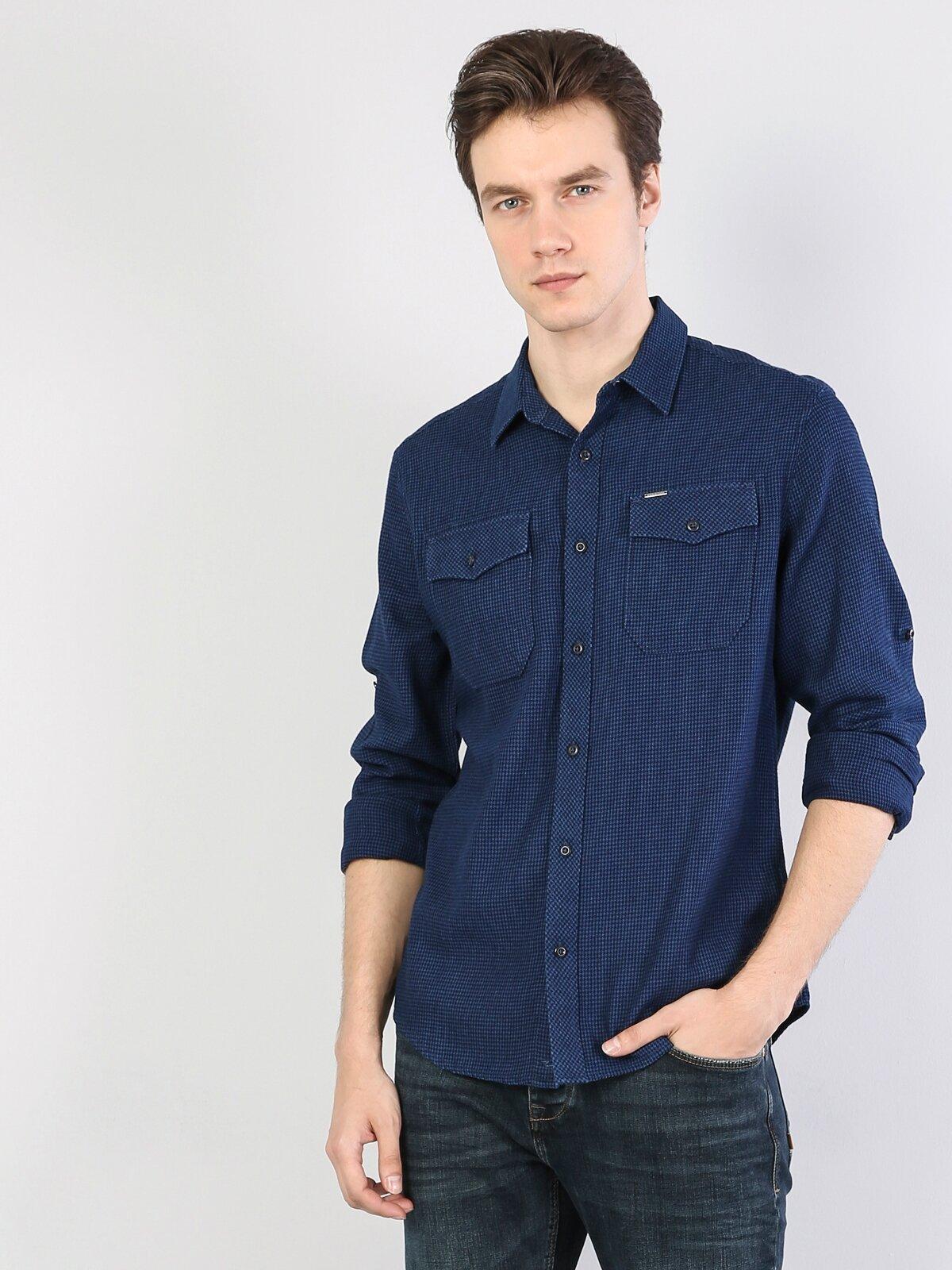 Kol Katlamalı Klasik Yaka Koyu Mavi Uzun Kol Gömlek