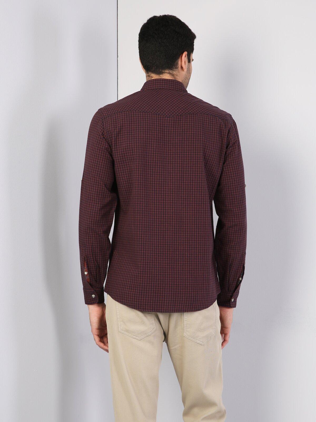 Kol Katlamalı Klasik Yaka Kiremit Uzun Kol Gömlek