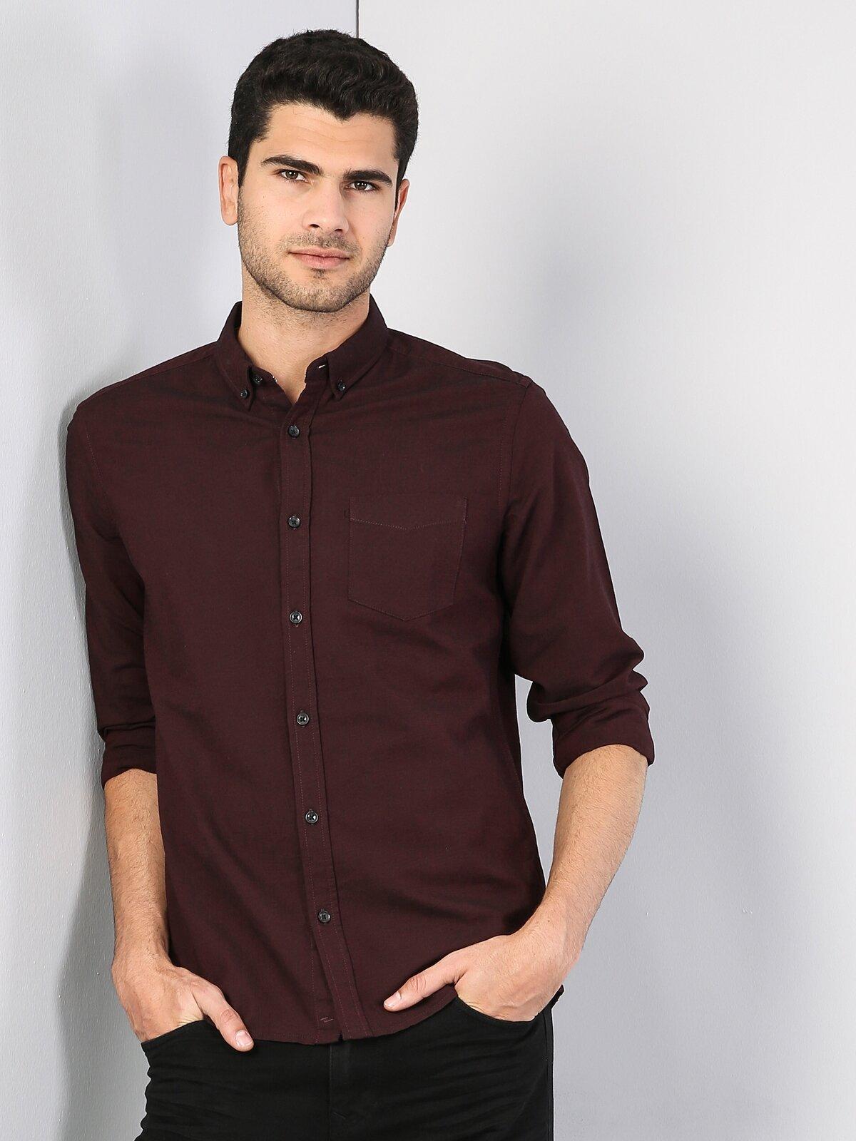 Regular Fit Shirt Neck Erkek Mor Uzun Kol Gömlek