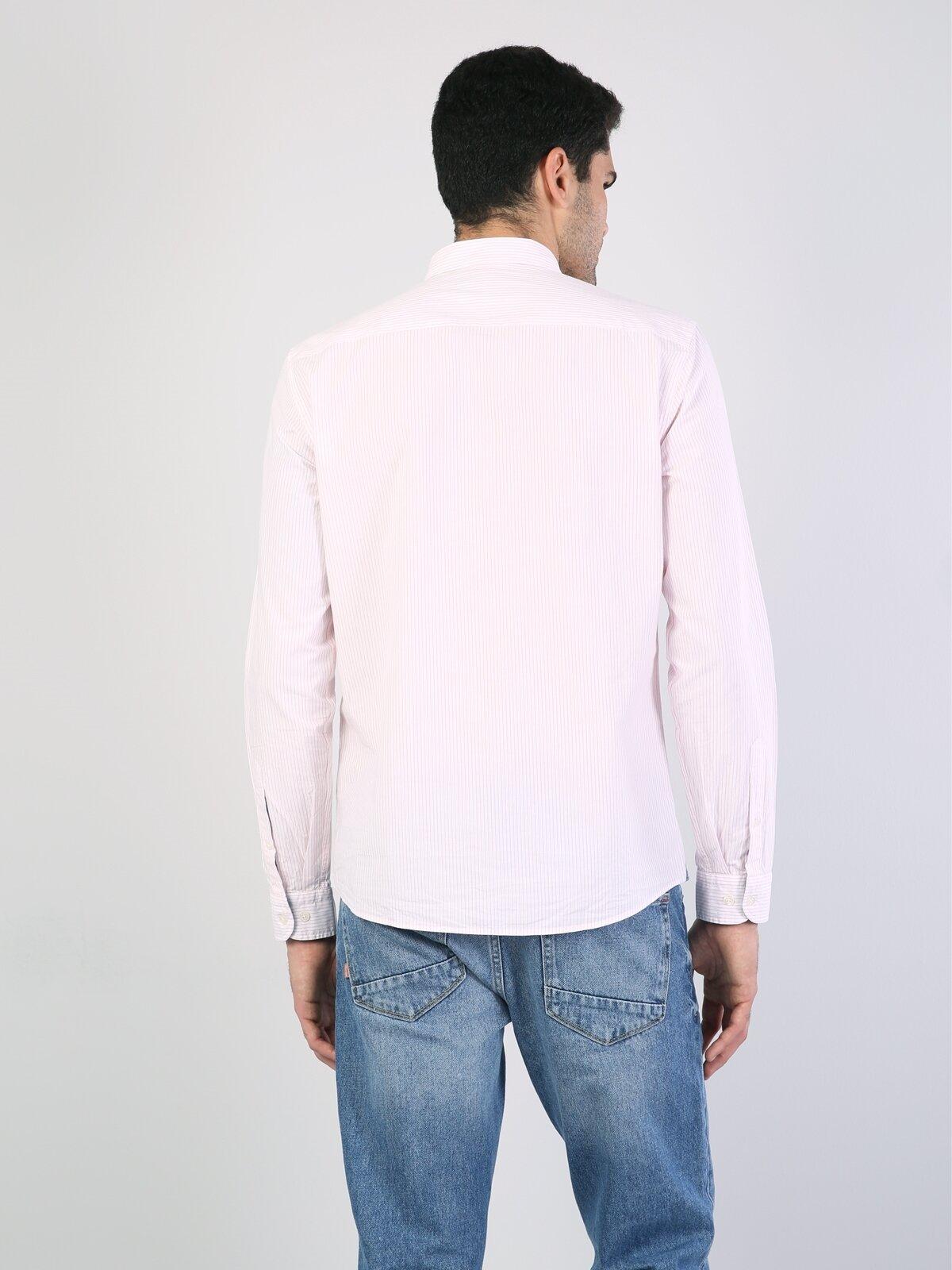 Regular Fit Placket Neck Erkek Pembe Uzun Kol Gömlek
