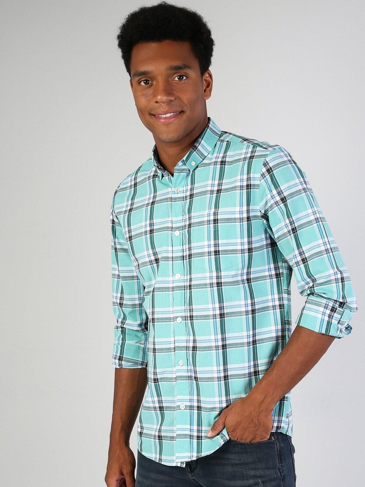 Regular Fit Placket Neck Erkek Mint Yeşili Uzun Kol Gömlek