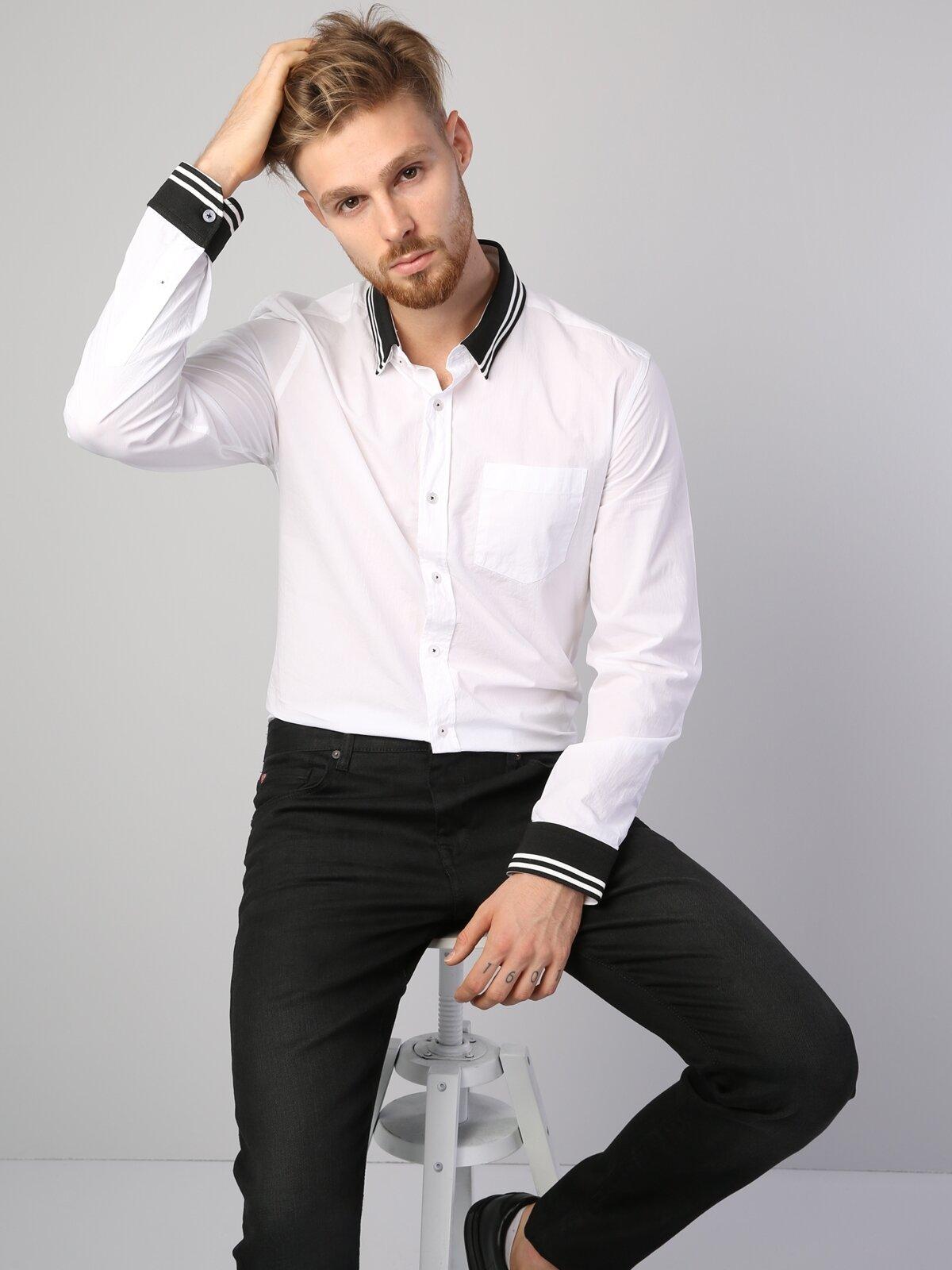 Slim Fit Placket Neck Erkek Beyaz Uzun Kol Gömlek