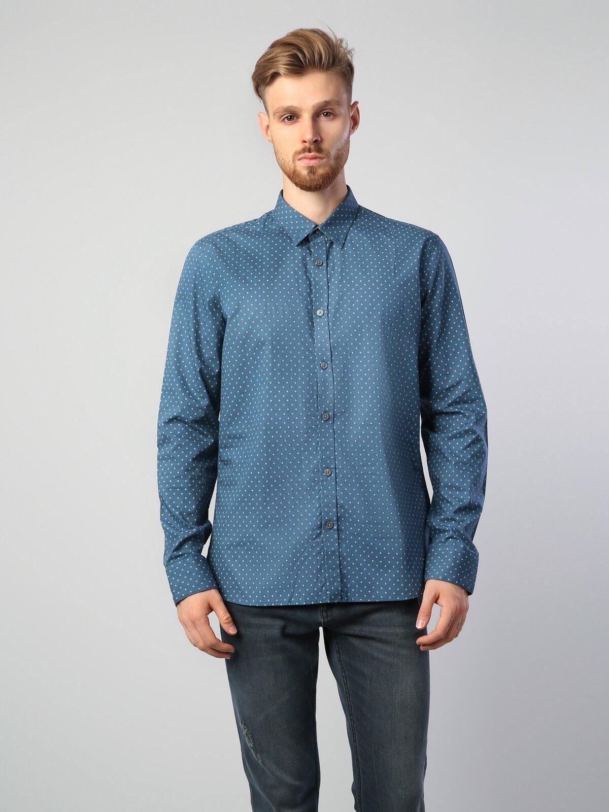 Modern Fit Shirt Neck Erkek Yeşil Uzun Kol Gömlek