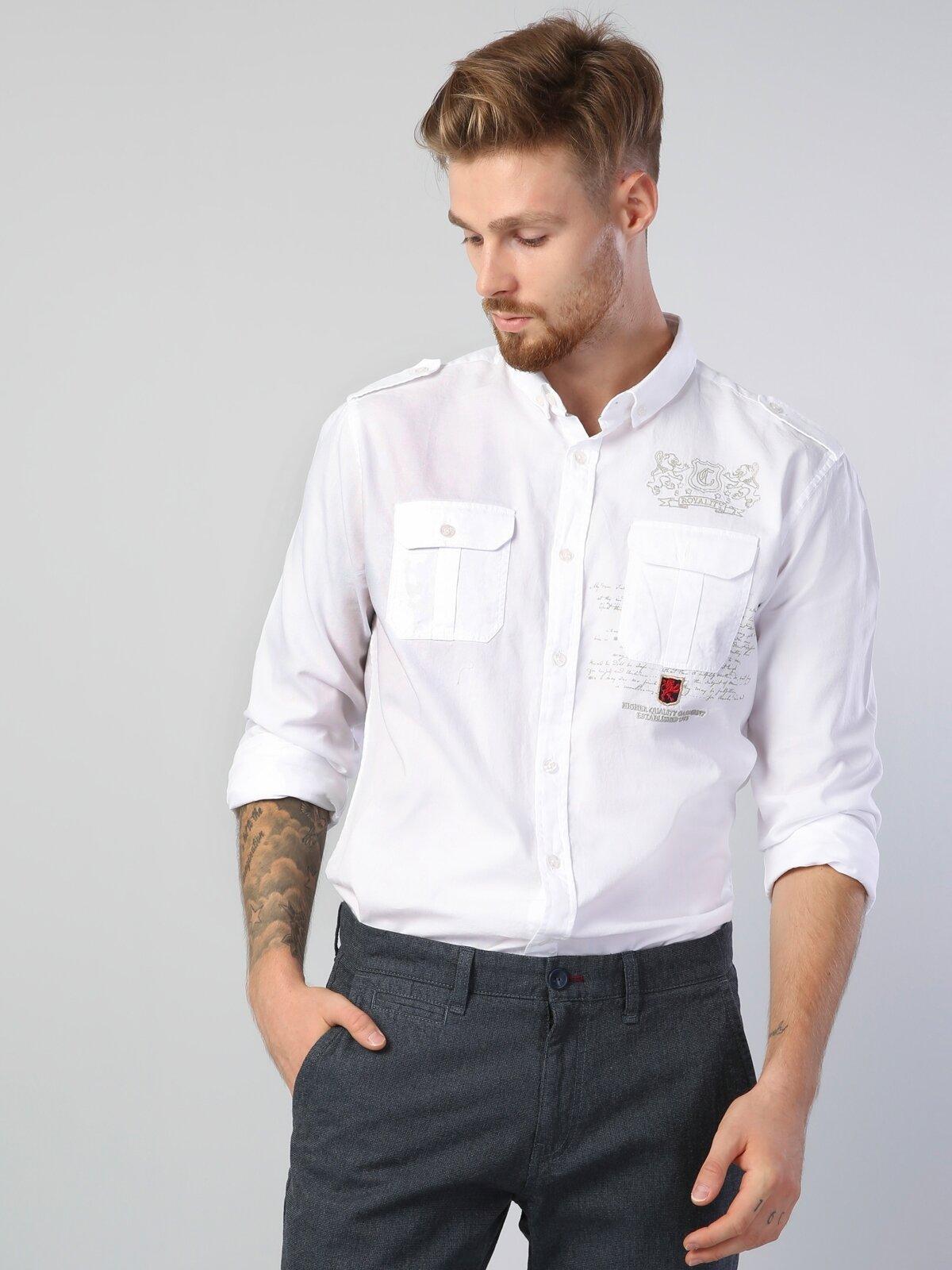 Modern Fit  Erkek Beyaz Uzun Kol Gömlek