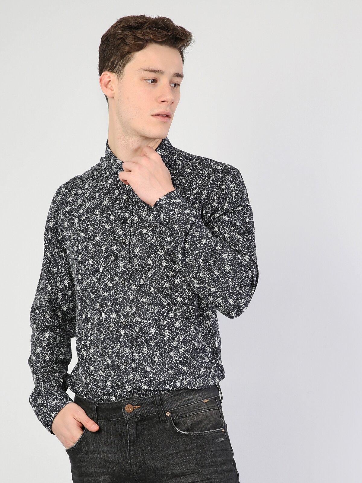 Slim Fit Siyah Uzun Kol Gömlek