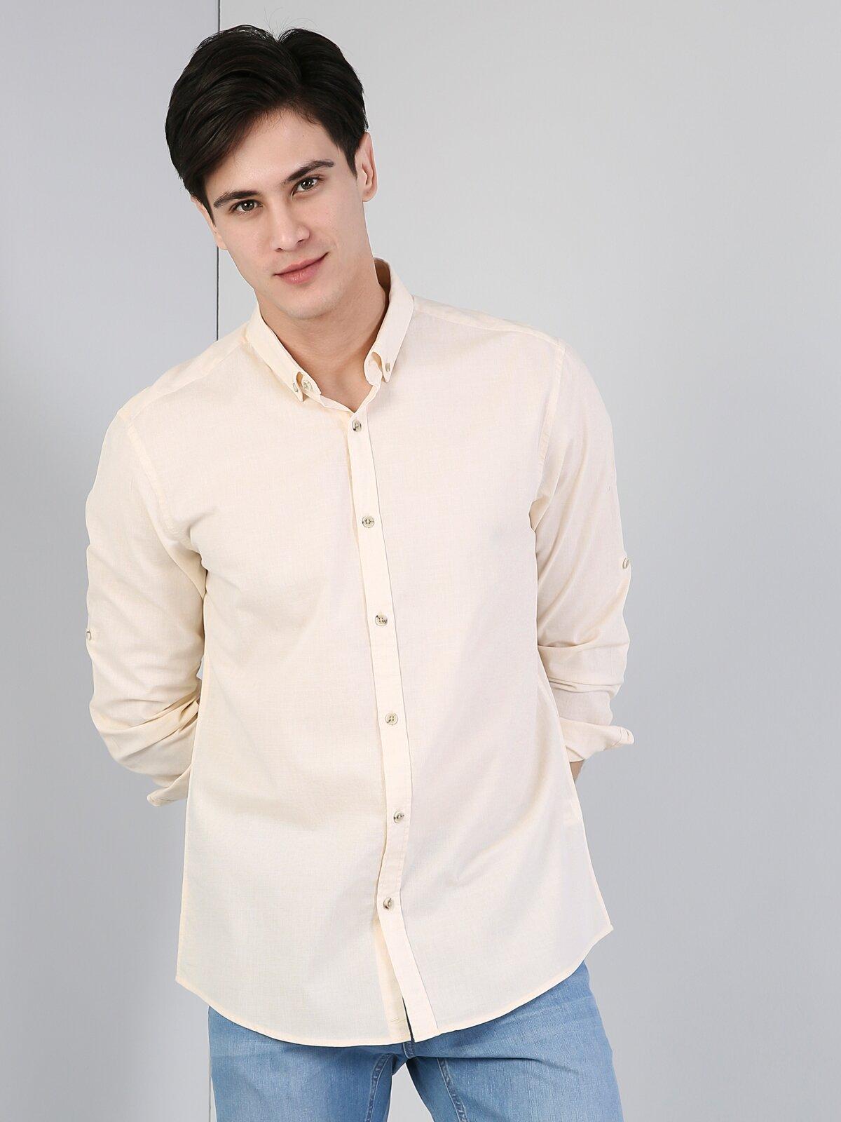 Regular Fit Shirt Neck Erkek Sarı Uzun Kol Gömlek
