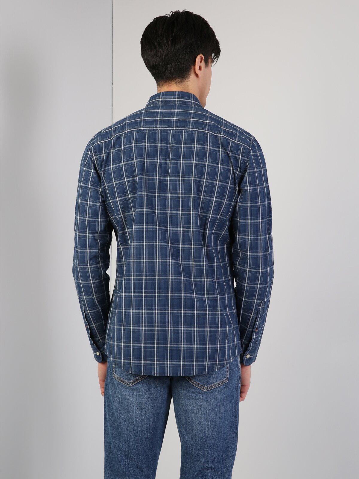 Erkek Slim Fit Lacivert Uzun Kol Gömlek