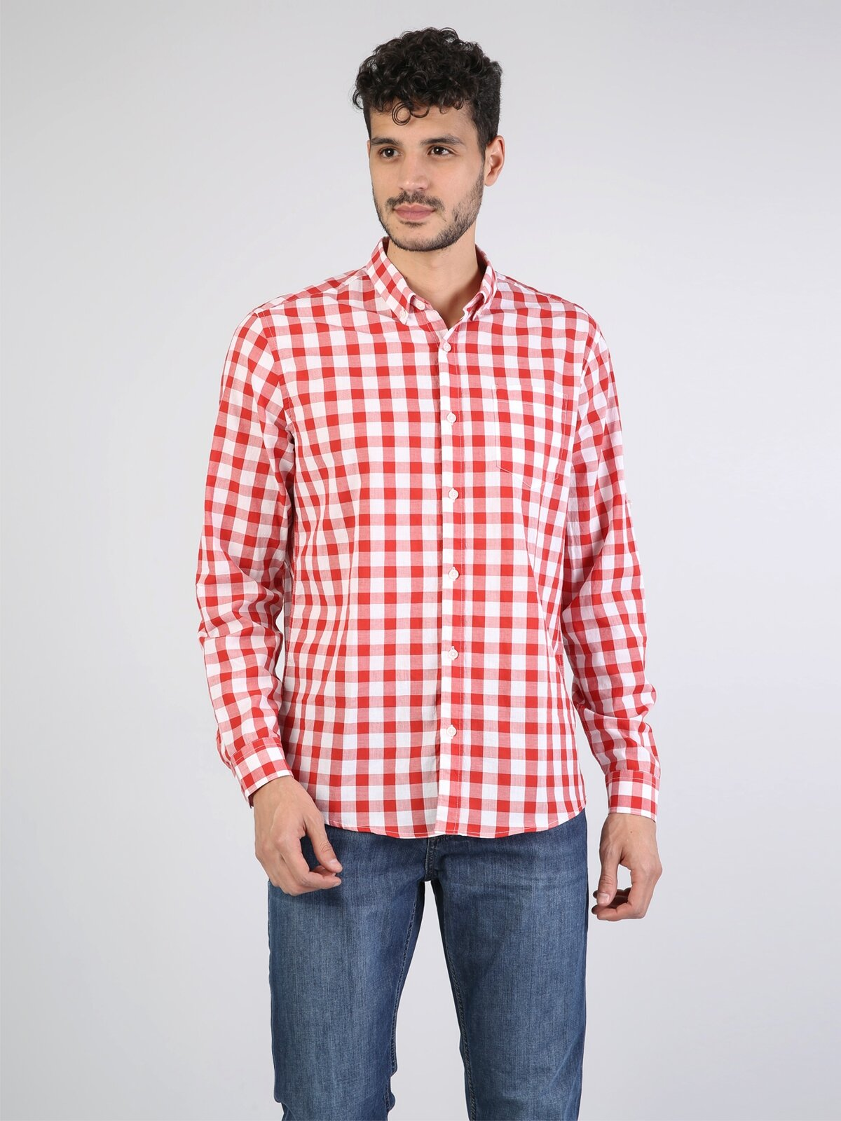 Kırmızı Uzun Kol Gömlek