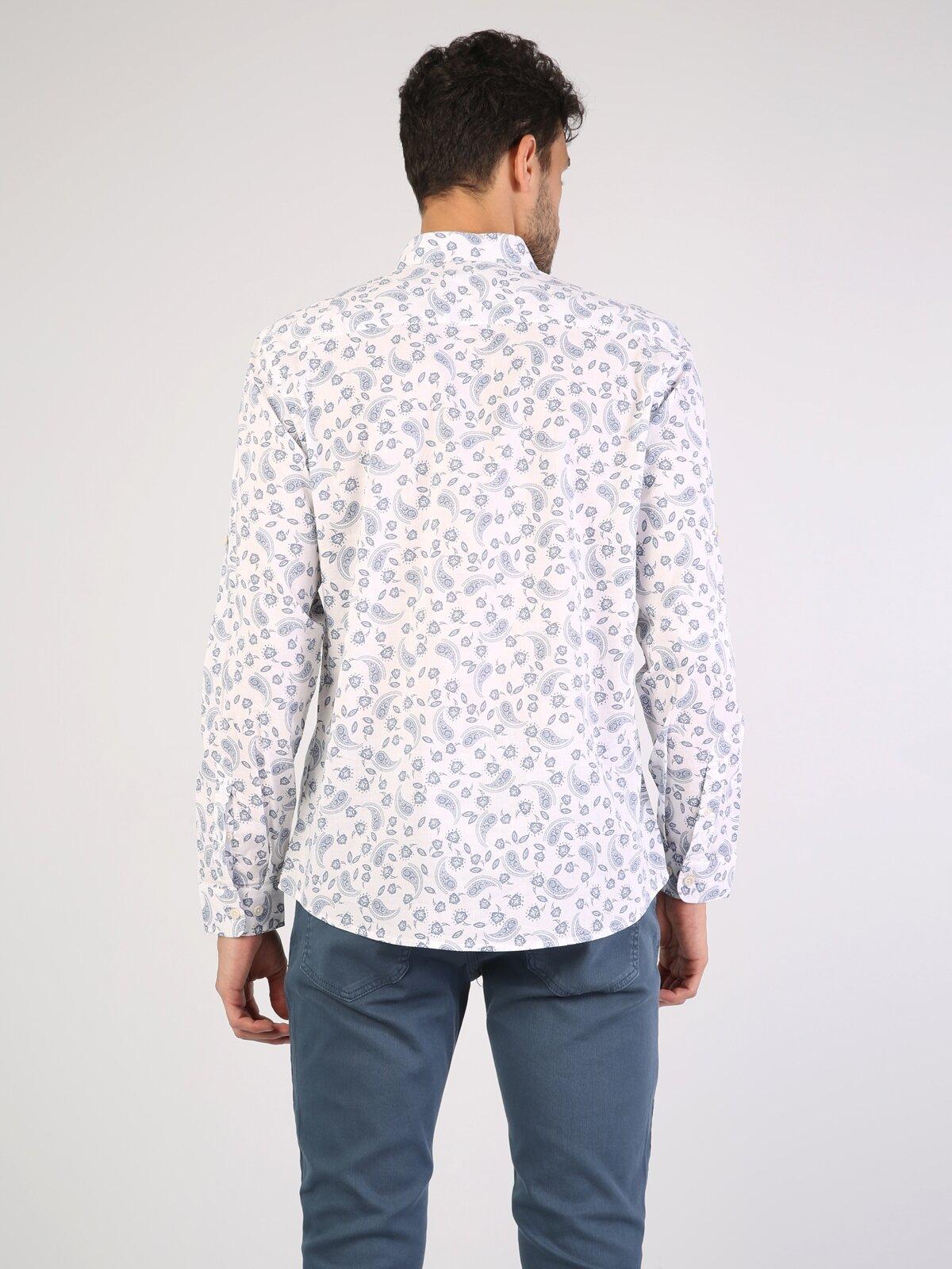 Regular Fit Shirt Neck Erkek Beyaz Uzun Kol Gömlek