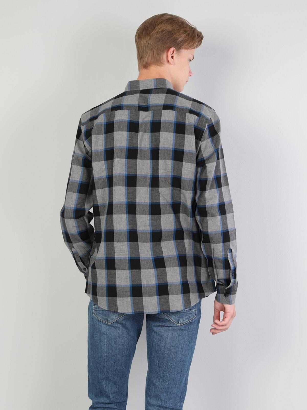 Normal Kesim Gri Erkek Uzun Kol Gömlek