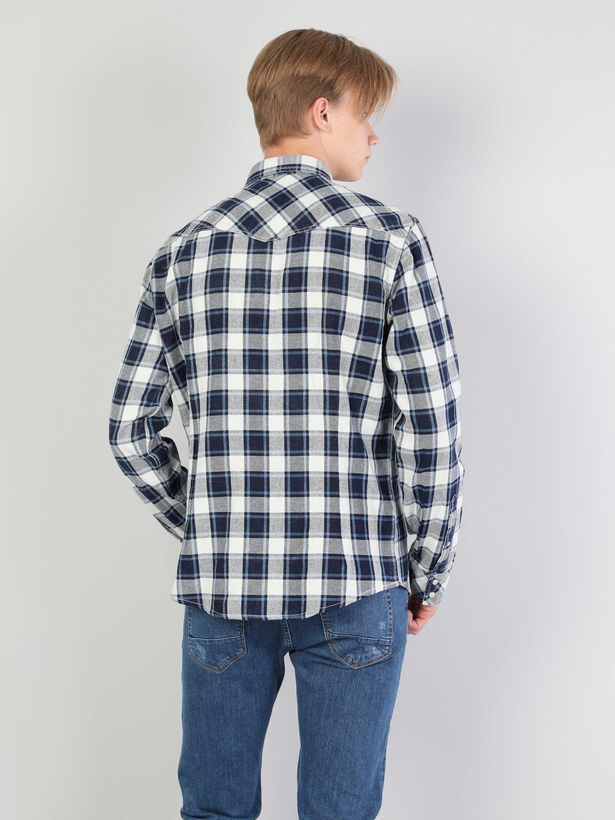 Slim Fit Shirt Neck Erkek İndigo Uzun Kol Gömlek