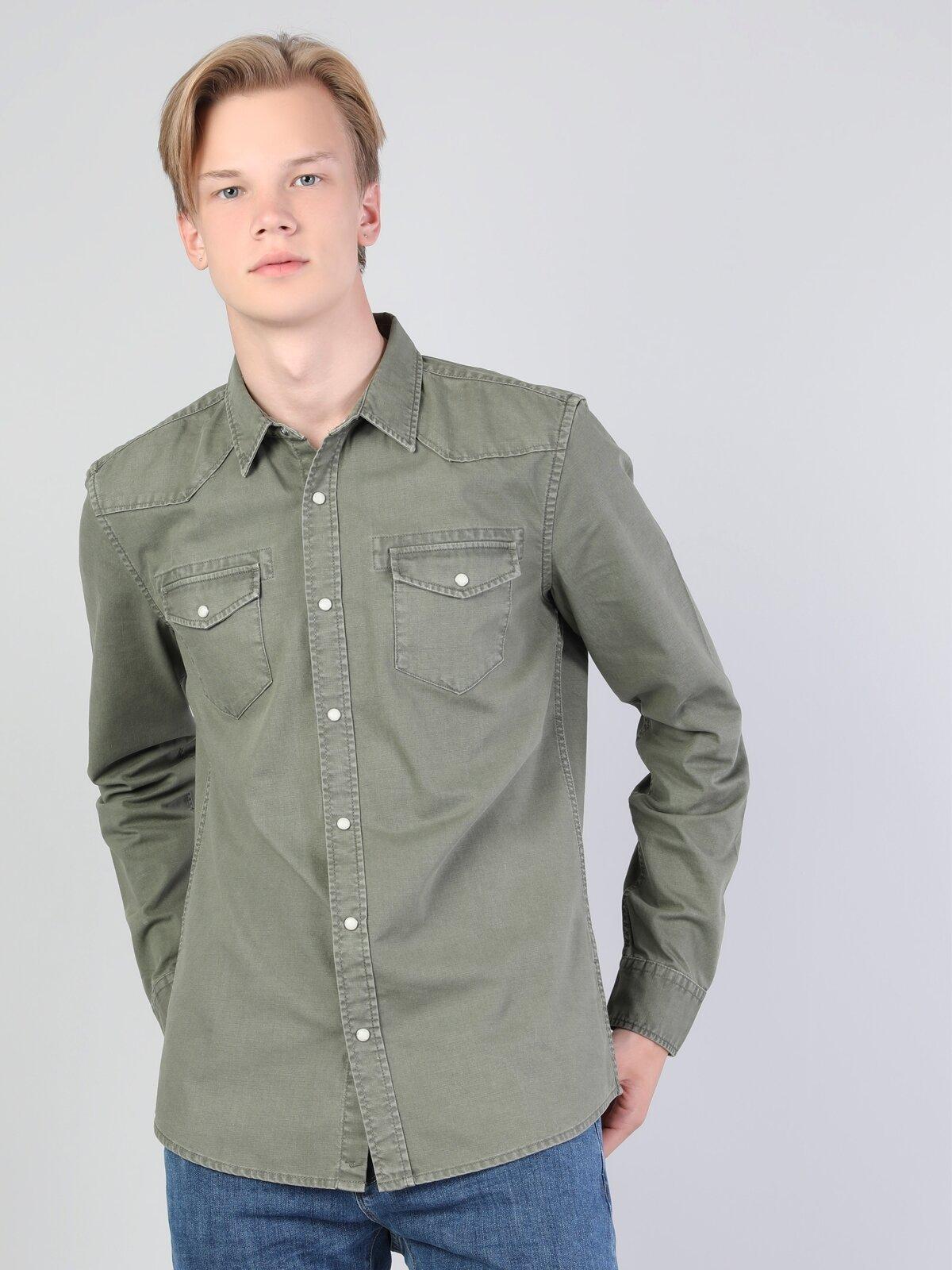 Dar Kesim Yeşil Erkek Uzun Kol Gömlek