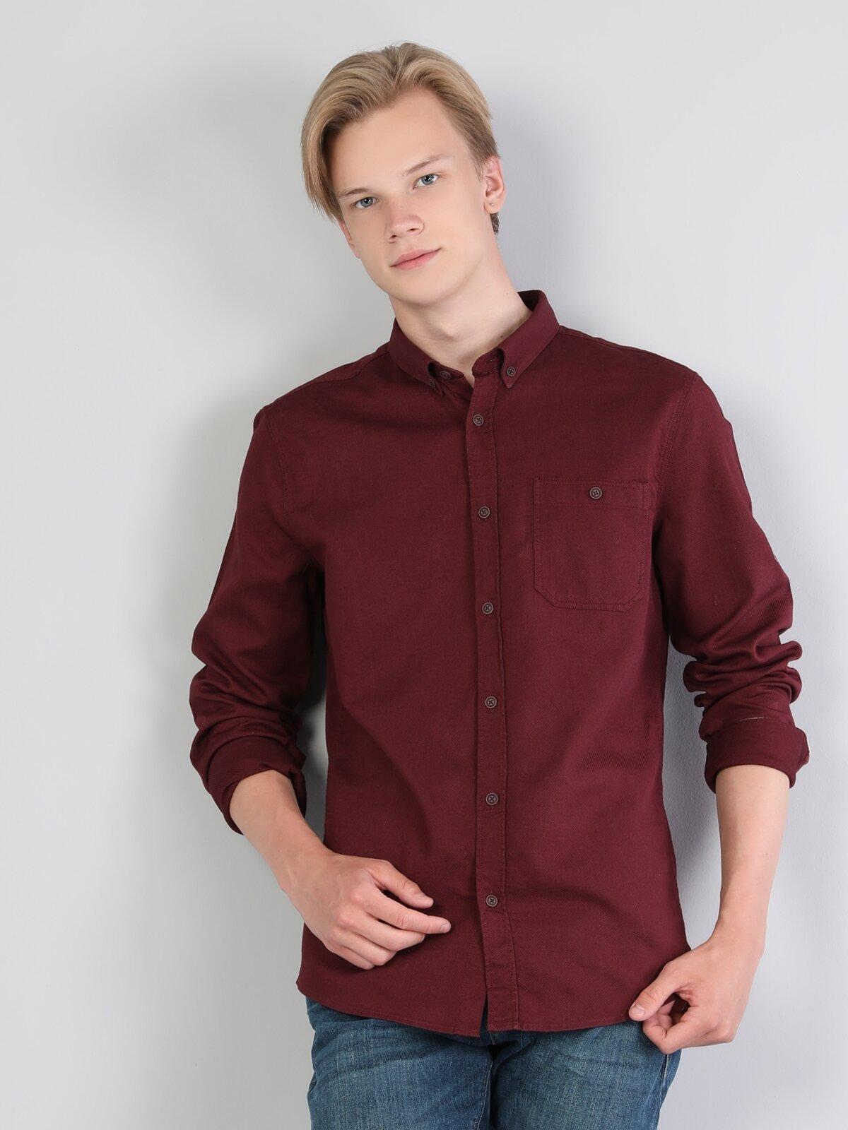 Slim Fit Shirt Neck Erkek Bordo Uzun Kol Gömlek