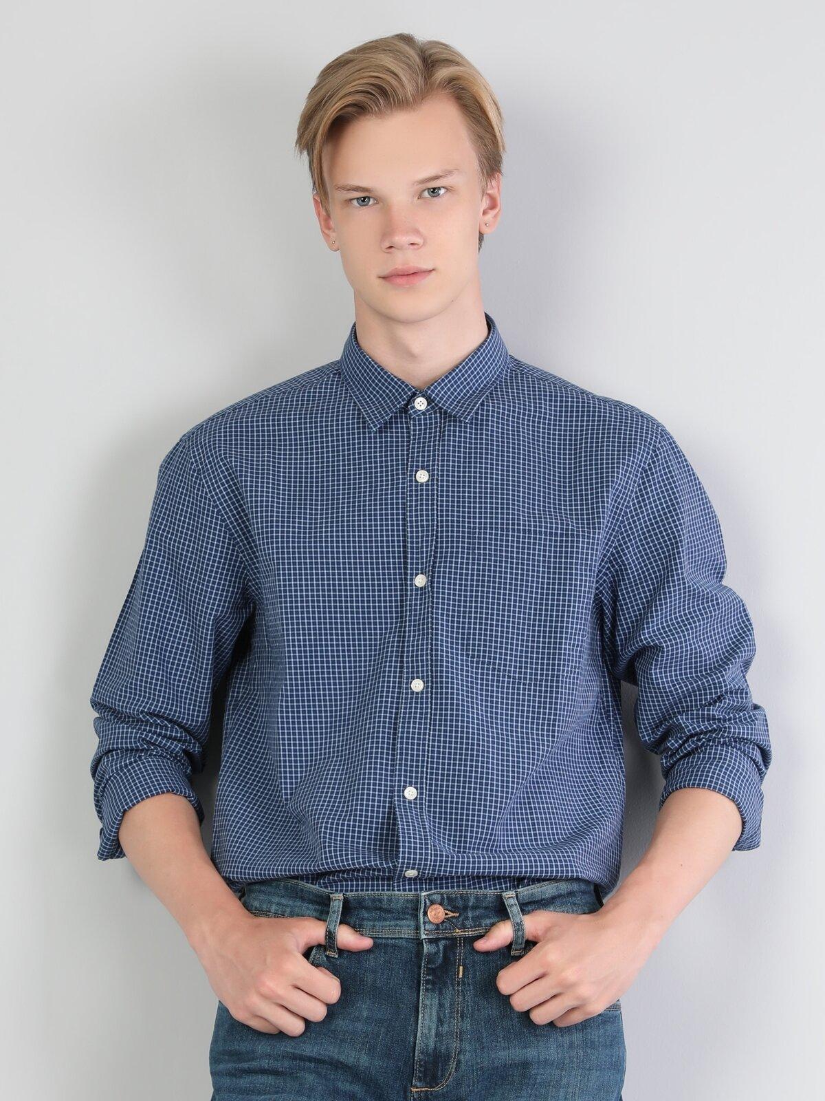 Regular Fit Shirt Neck Erkek Koyu Mavi Uzun Kol Gömlek