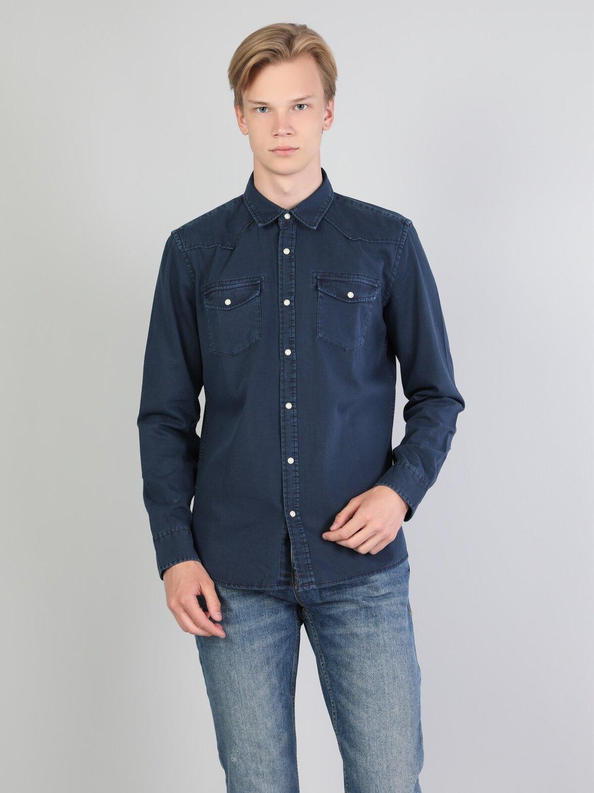 Erkek Uzun Kol Lacivert Gömlek