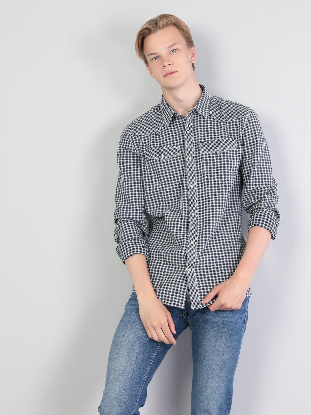 Dar Kesim İndigo Erkek Uzun Kol Gömlek
