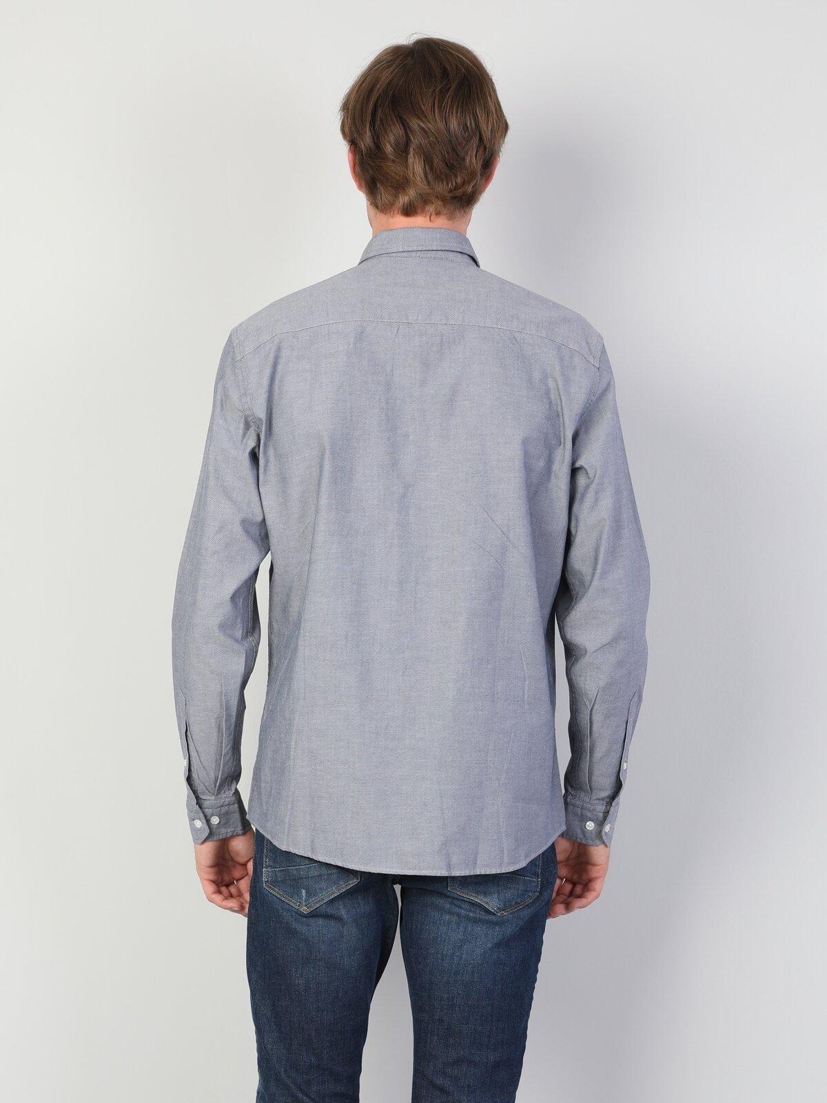 Regular Fit Shirt Neck Erkek Antrasit Uzun Kol Gömlek