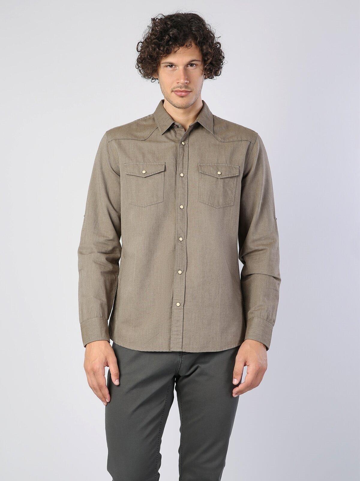 Kol Katlamalı Klasik Yaka Lacivert Uzun Kol Gömlek