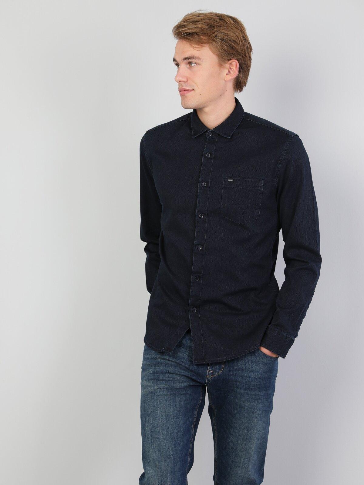 Dar Kesim Mavi Erkek Uzun Kol Gömlek