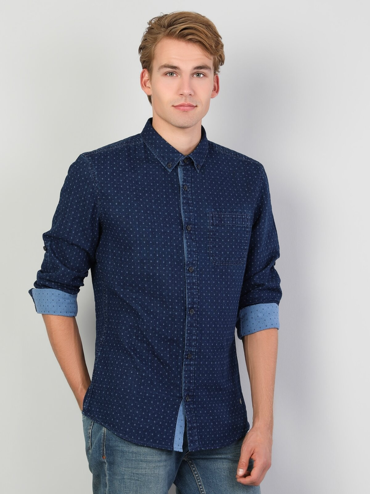 Slim Fit Desenli Erkek Mavi Uzun Kol Gömlek