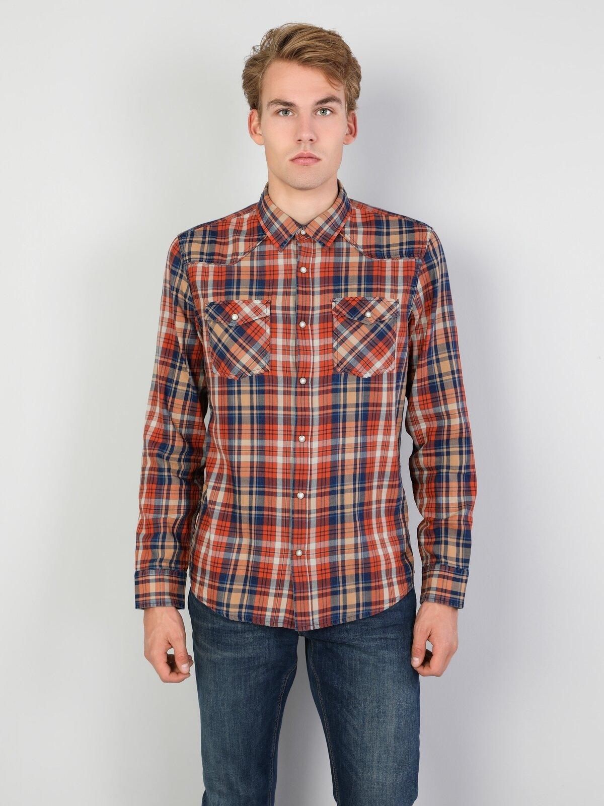 Slim Fit Shirt Neck Erkek Turuncu Uzun Kol Gömlek