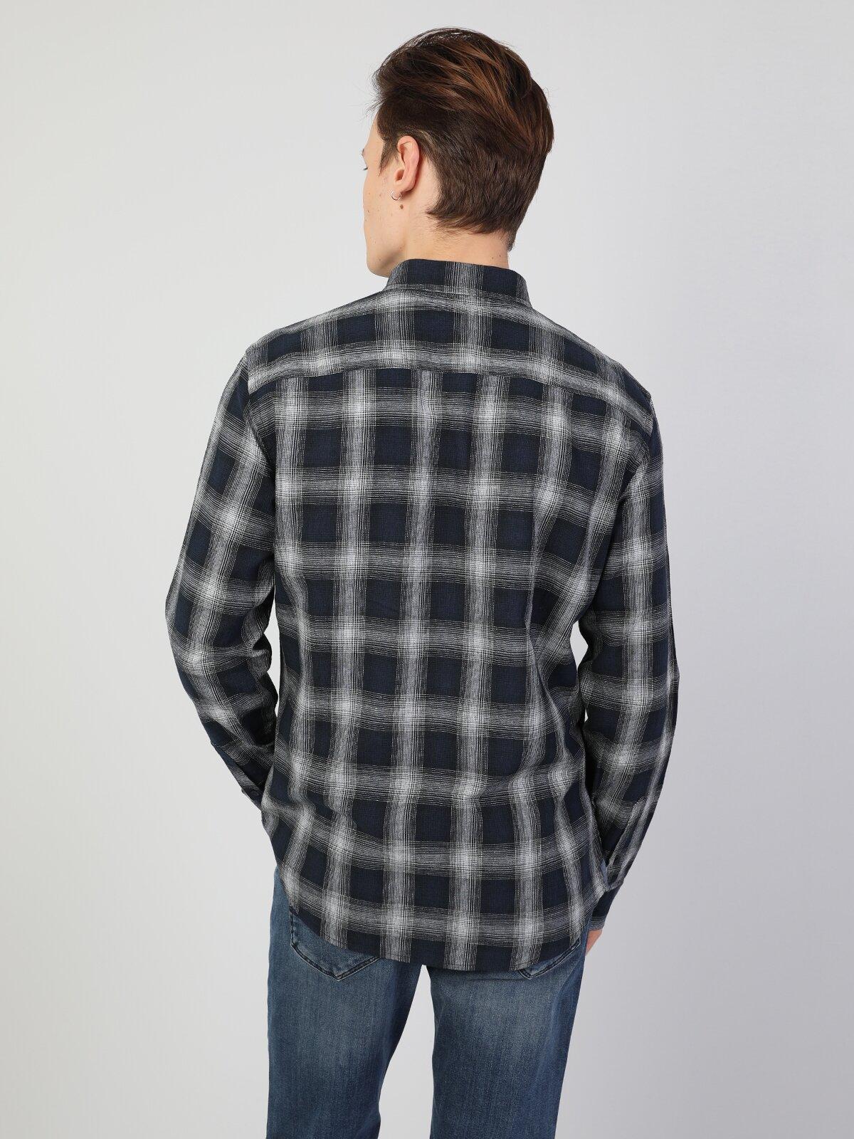 Slim Fit Erkek İndigo Uzun Kol Gömlek