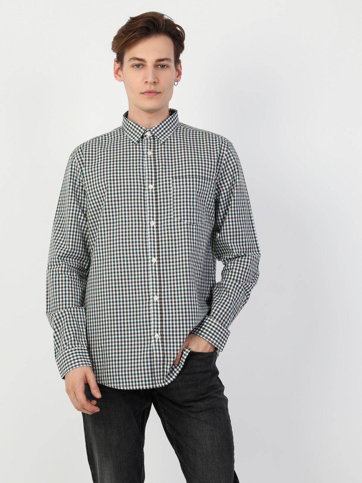 Regular Fit Shirt Neck Erkek Yeşil Uzun Kol Gömlek