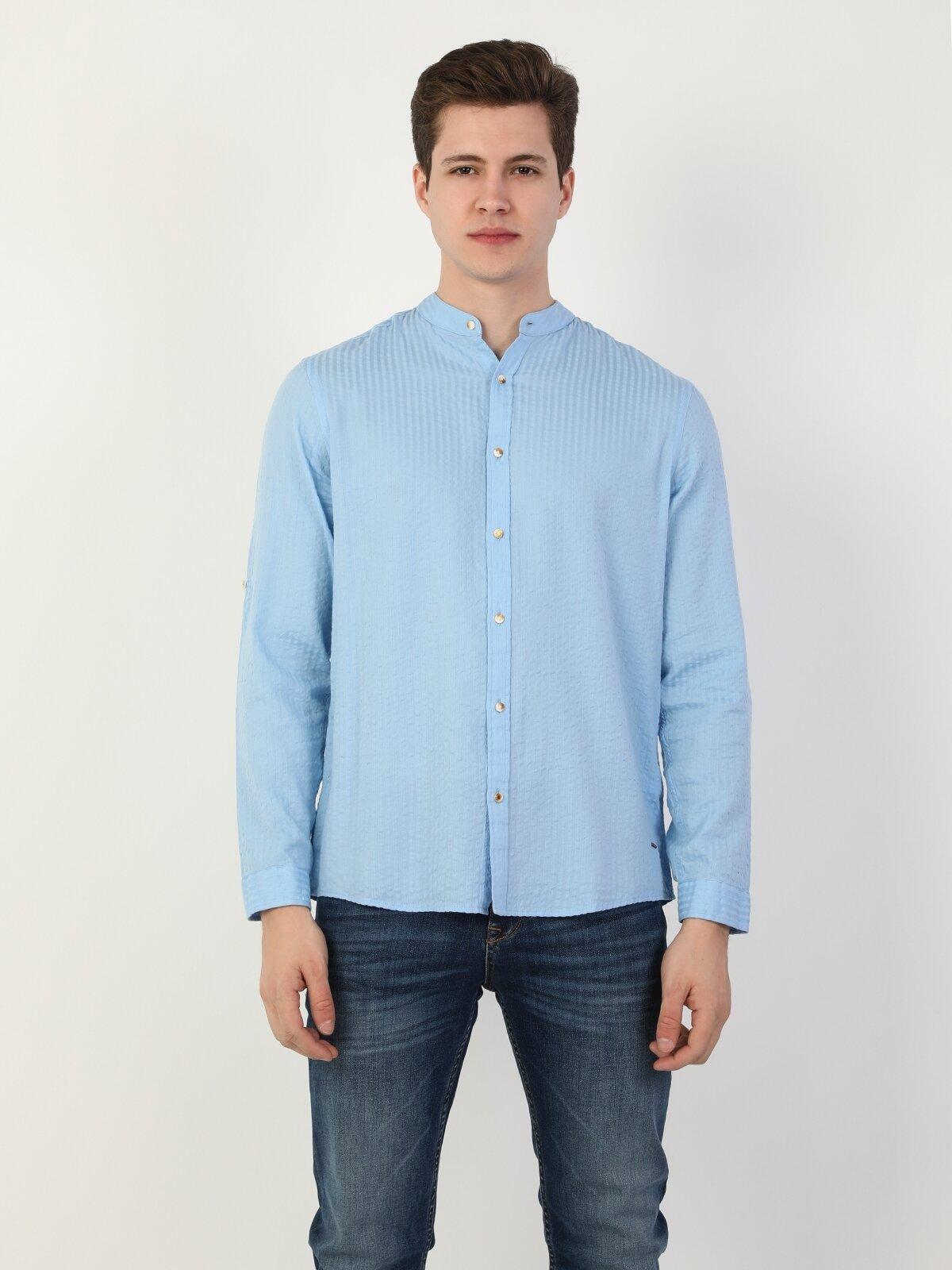 Regular Fit Hakim Erkek Mavi Uzun Kol Gömlek