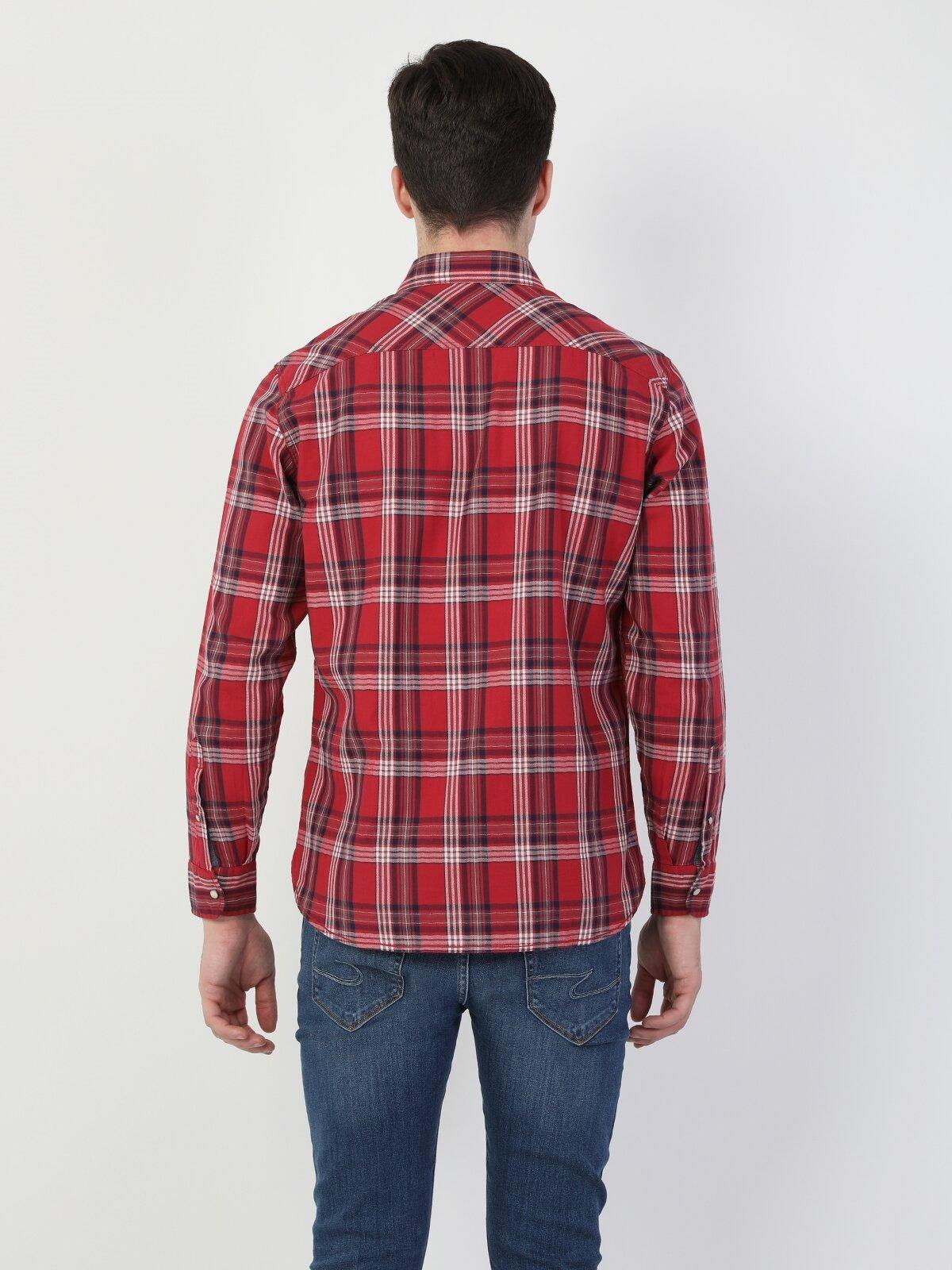 Regular Fit Shirt Neck Erkek Kırmızı Uzun Kol Gömlek