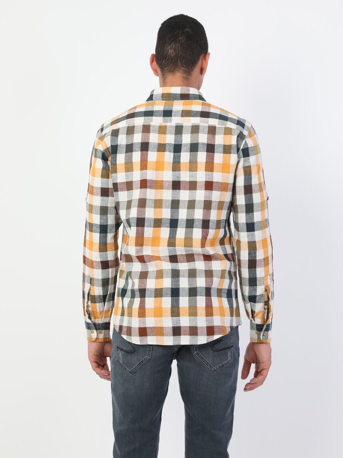 Slim Fit Uzun Kol V Yaka Sarı Erkek Gömlek Uzun Kol