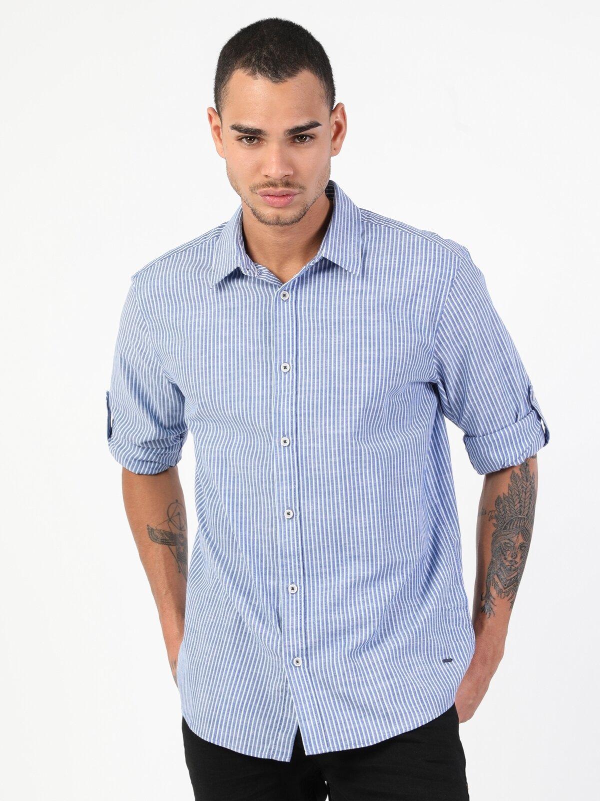 Regular Fit Standart Kol V Yaka Mavi Erkek Gömlek Uzun Kol