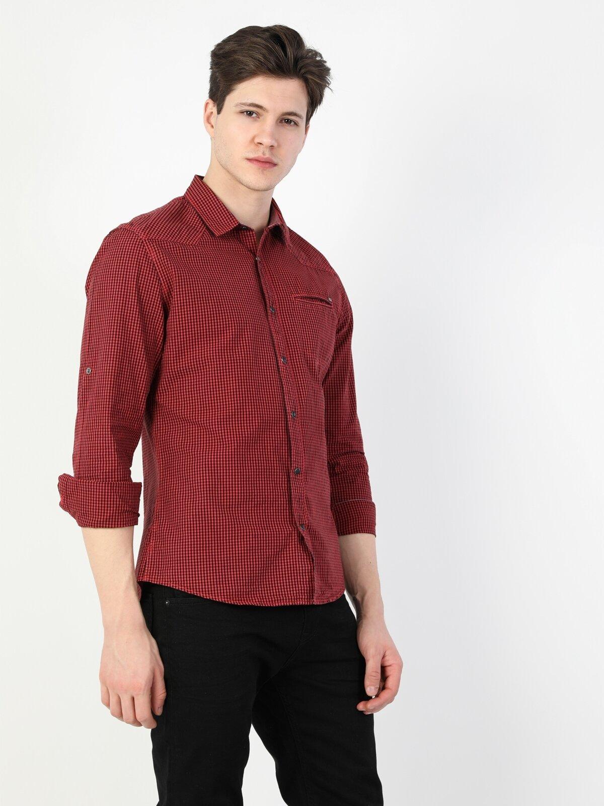Dar Kesim Erkek Kırmızı Uzun Kol Gömlek