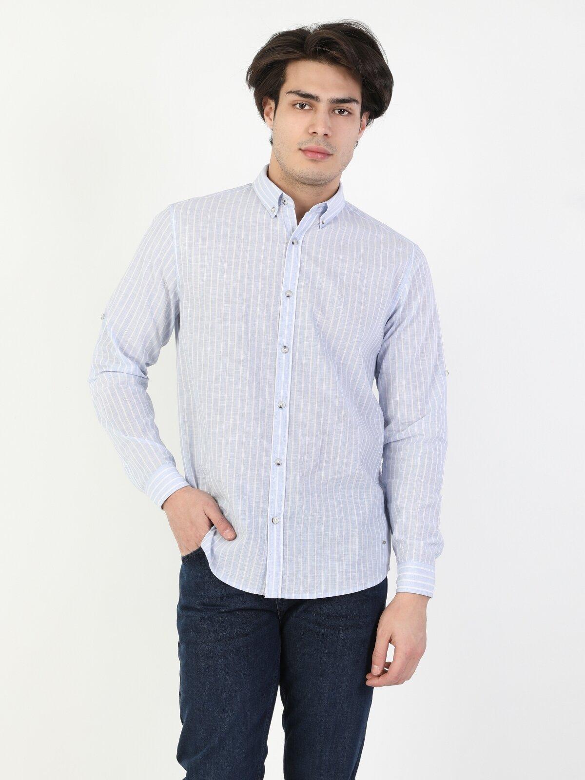 Regular Fit Uzun Kol V Yaka Mavi Erkek Gömlek Uzun Kol