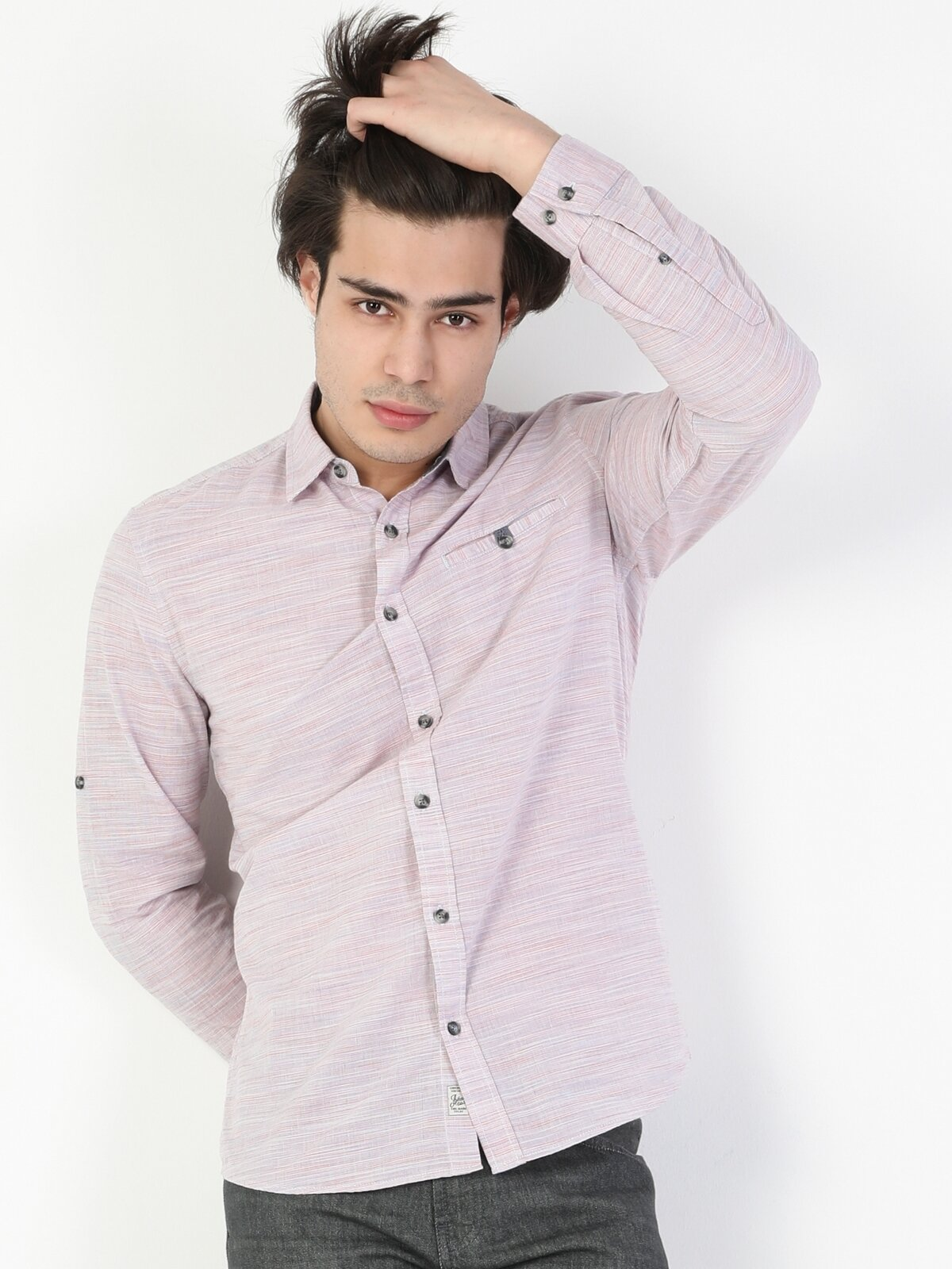 Slim Fit Shirt Neck Erkek Açık Mercan Uzun Kol Gömlek