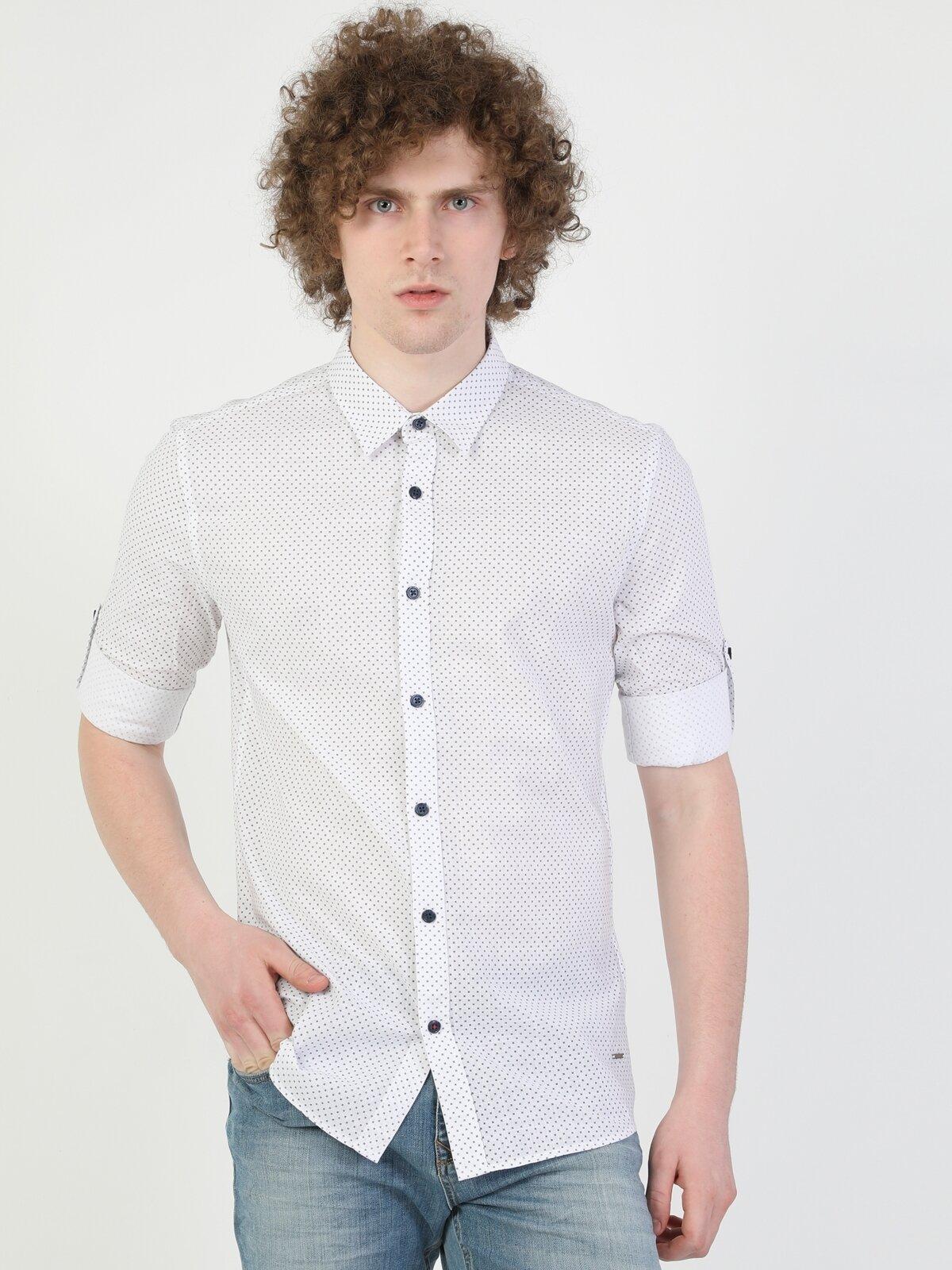 Super Slim Fit Shirt Neck Erkek Beyaz Uzun Kol Gömlek