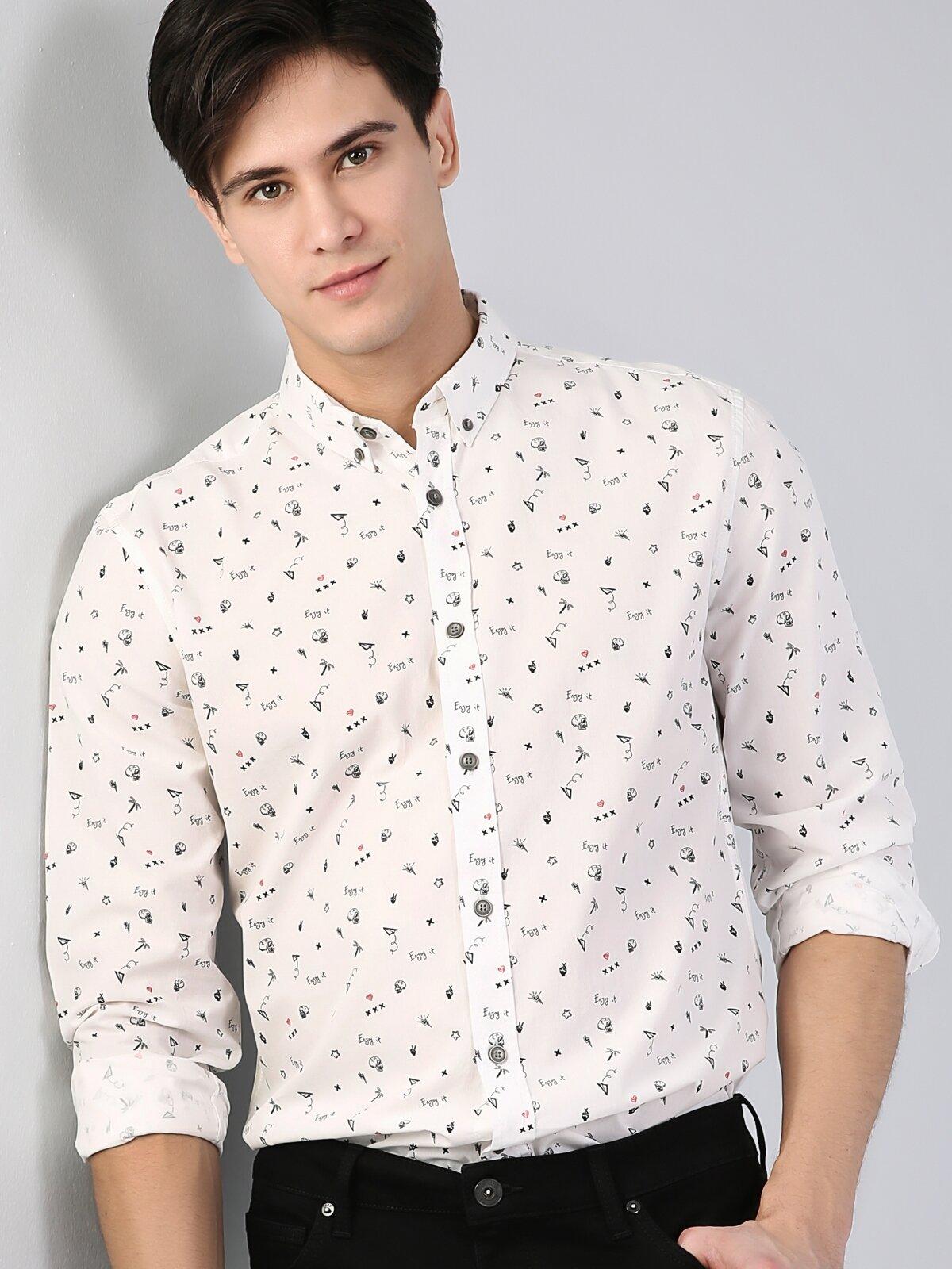 Slim Fit Standart Kol V Yaka Beyaz Erkek Gömlek Uzun Kol