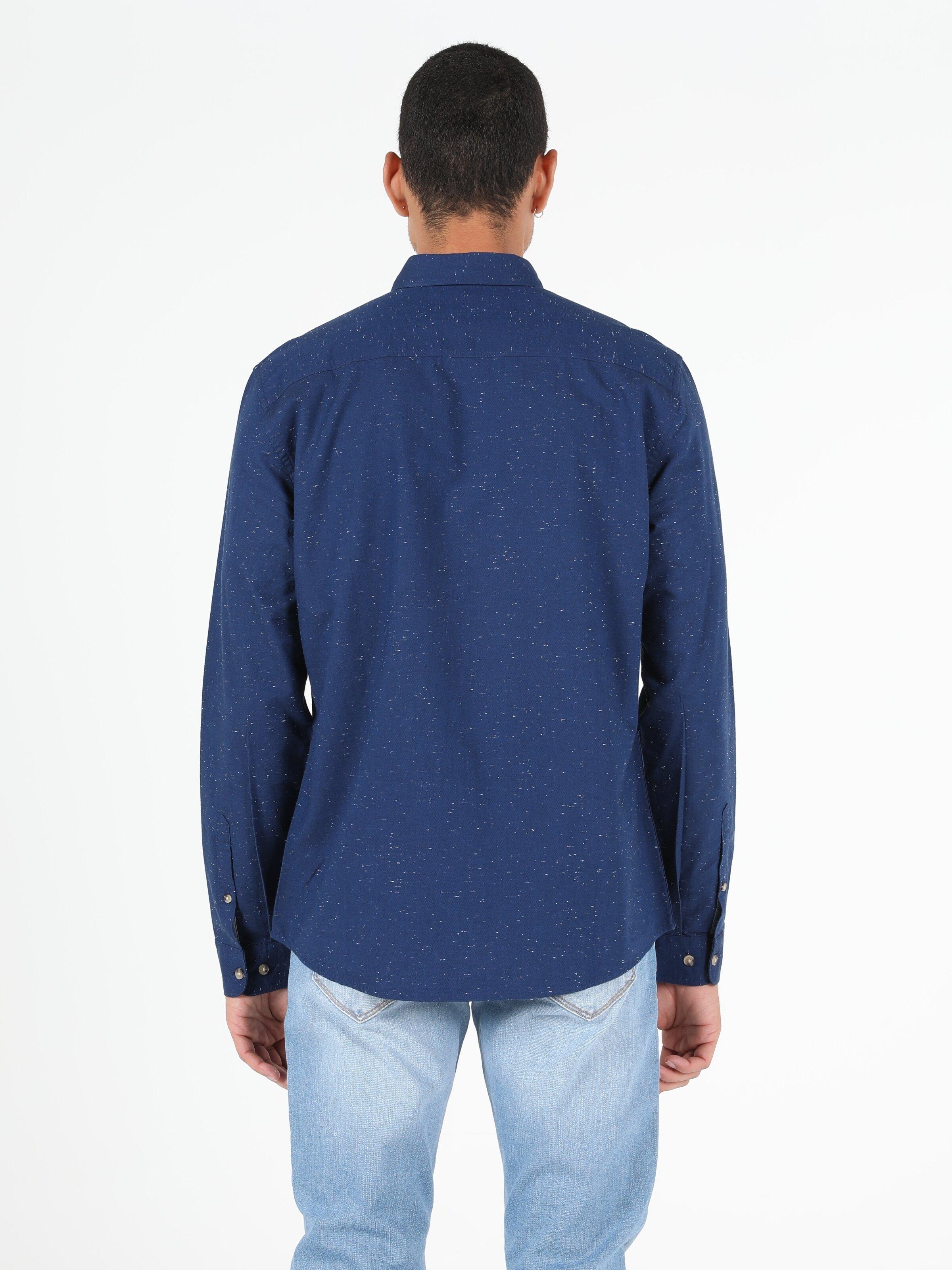 Slim Fit Erkek Lacivert Uzun Kol Gömlek