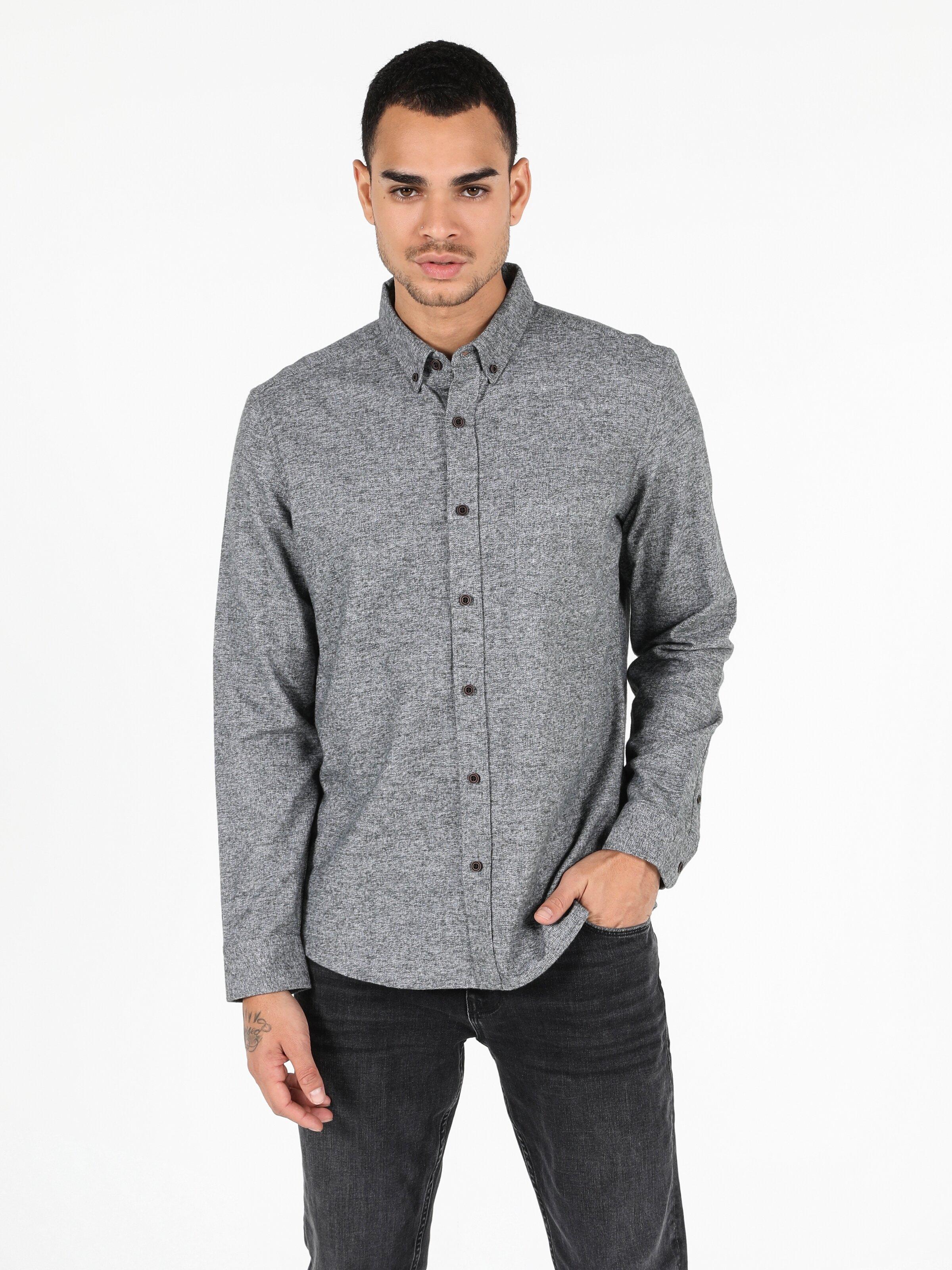 Slim Fit Shirt Neck Erkek Haki Uzun Kol Gömlek