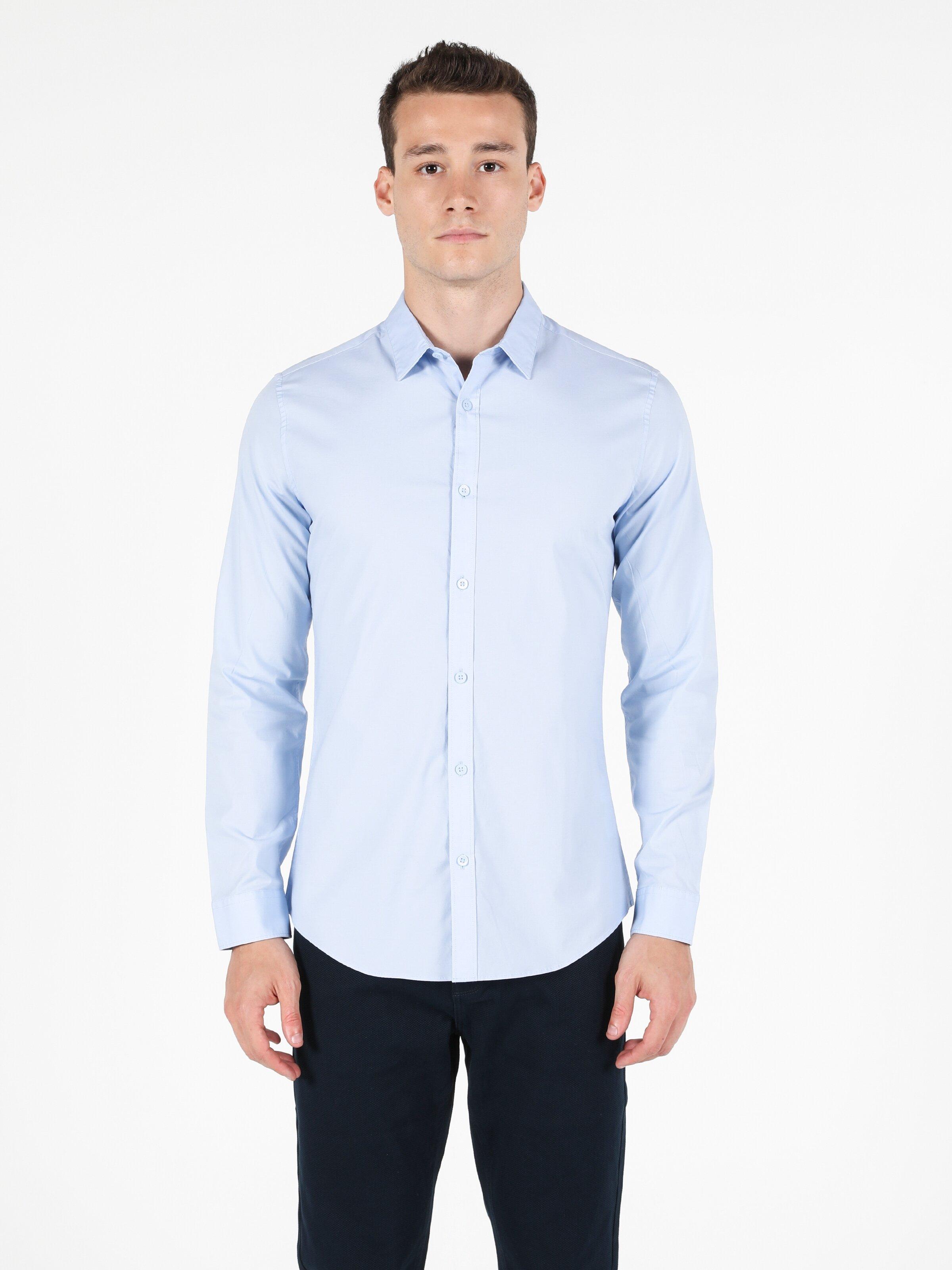 Super Slim Fit Shirt Neck Erkek Açık Mavi Uzun Kol Gömlek